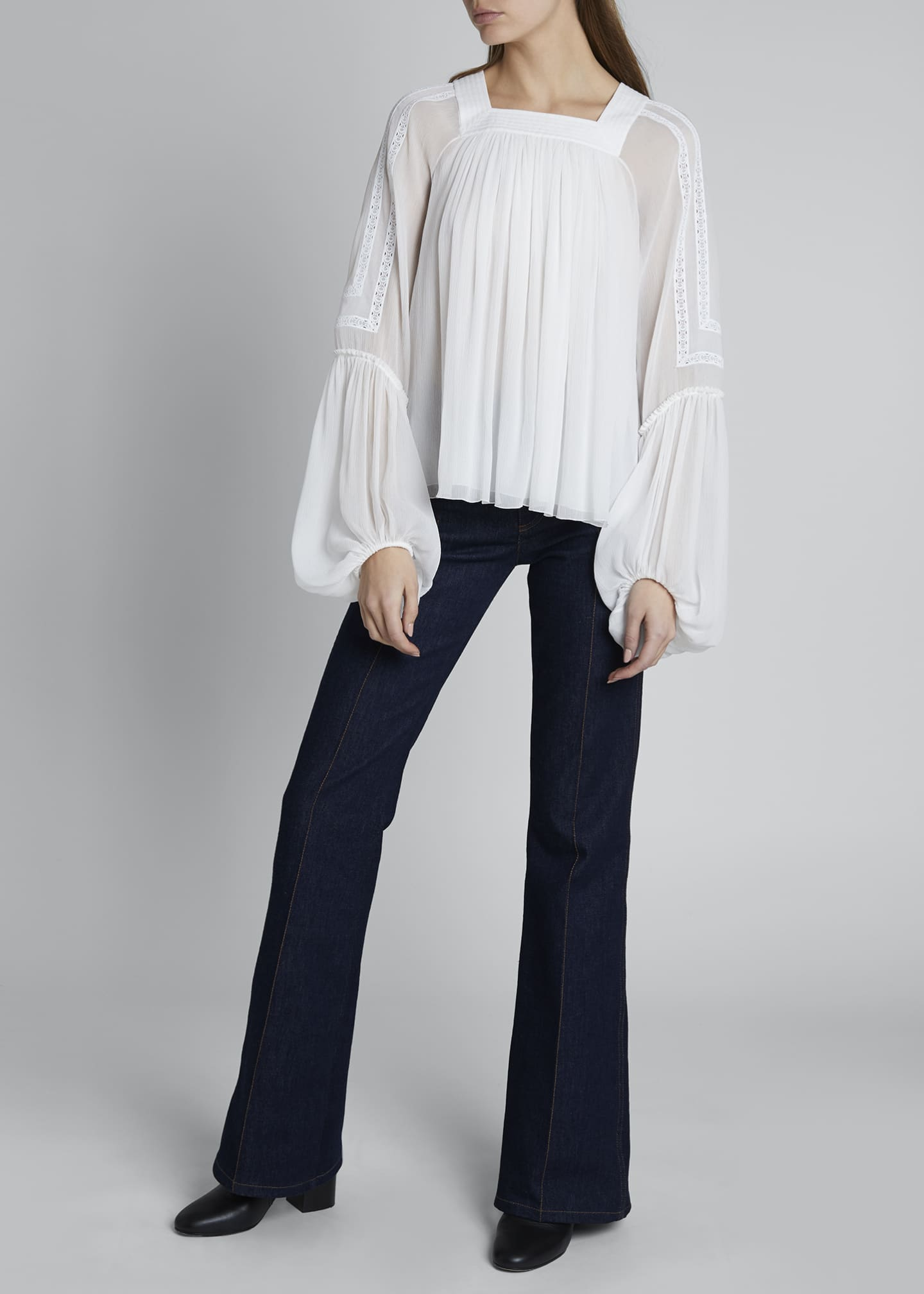Embroidered Shoulder Square-Neck Balloon-Sleeve Top