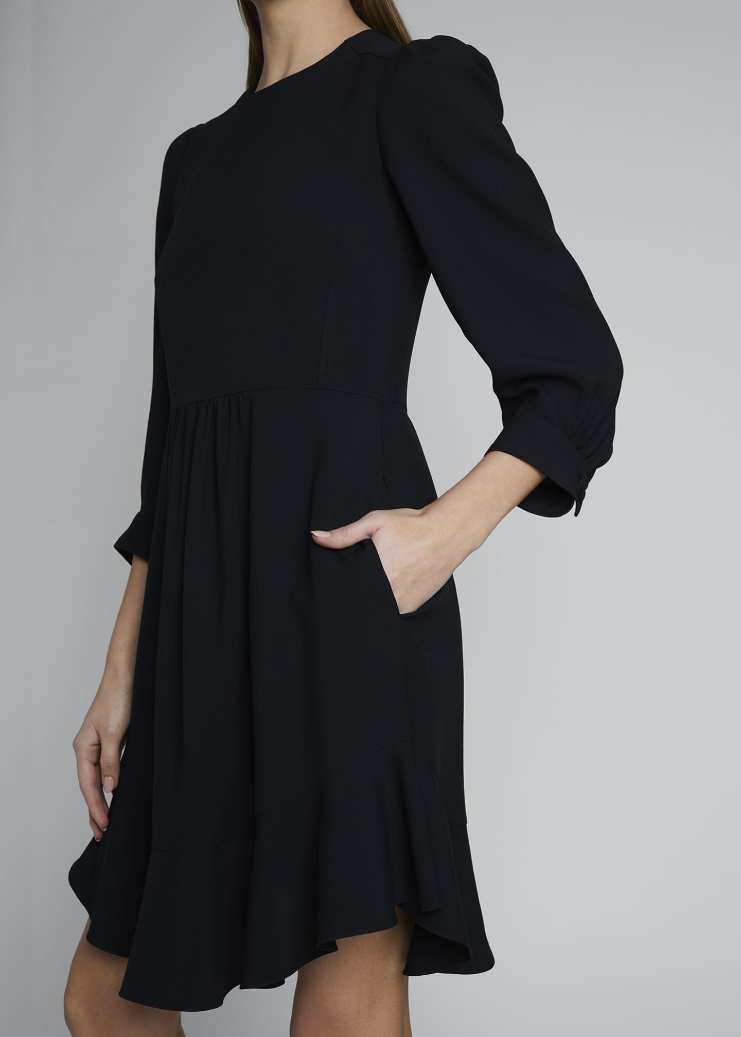 Image 3 of 3: Ruffle-Hem Cady Dress