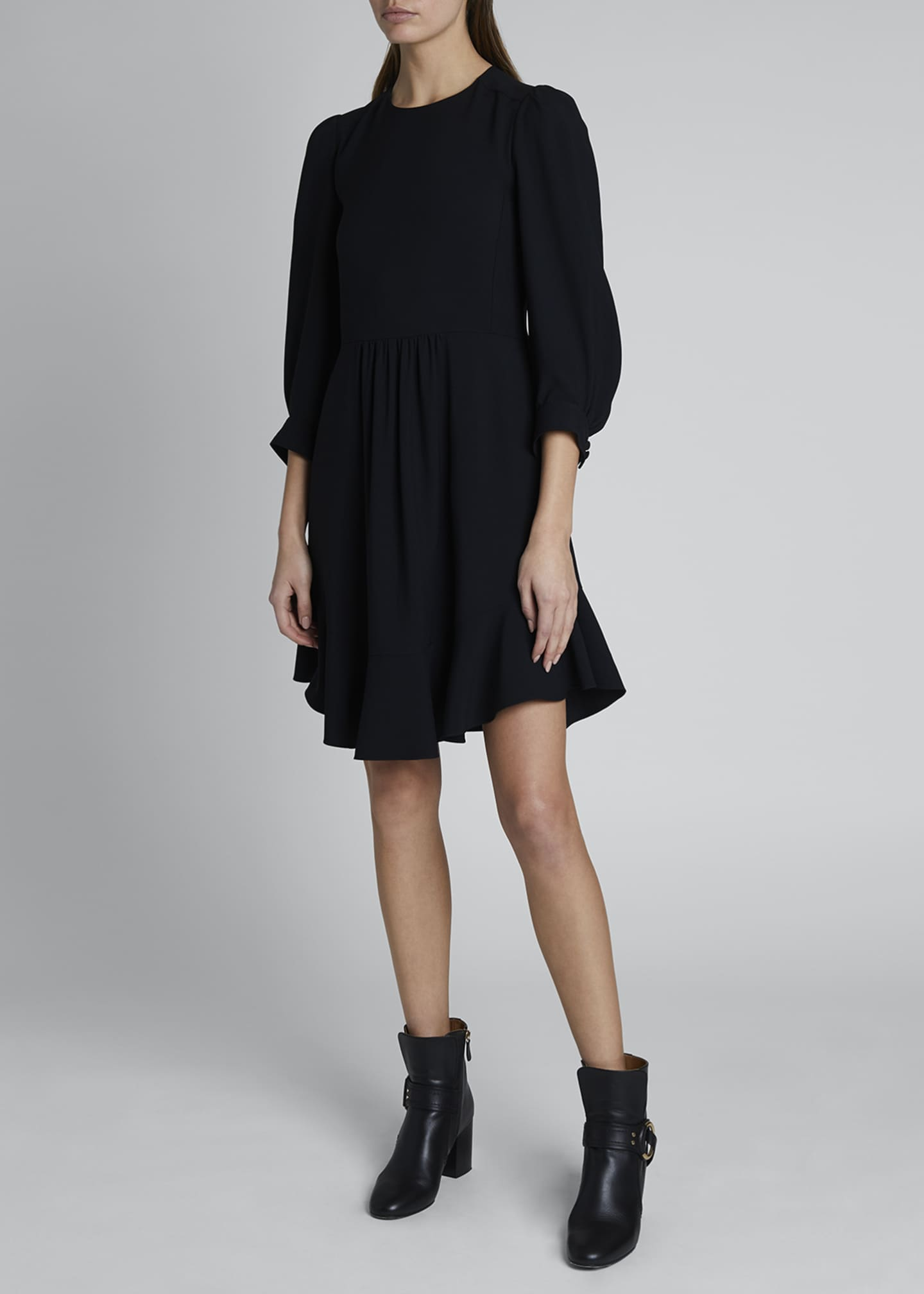 Image 1 of 3: Ruffle-Hem Cady Dress