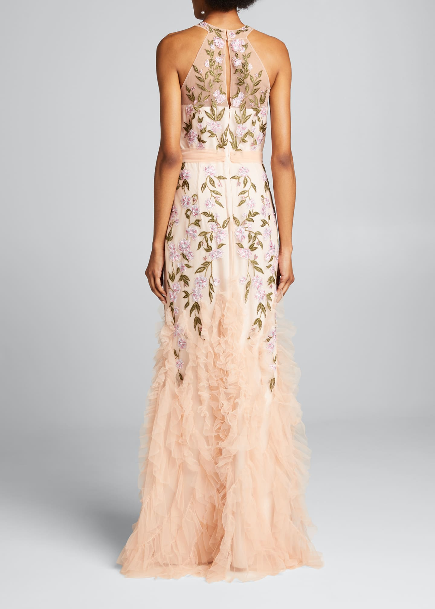 Image 2 of 5: Floral Embroidered Ruffle-Hem Halter Gown