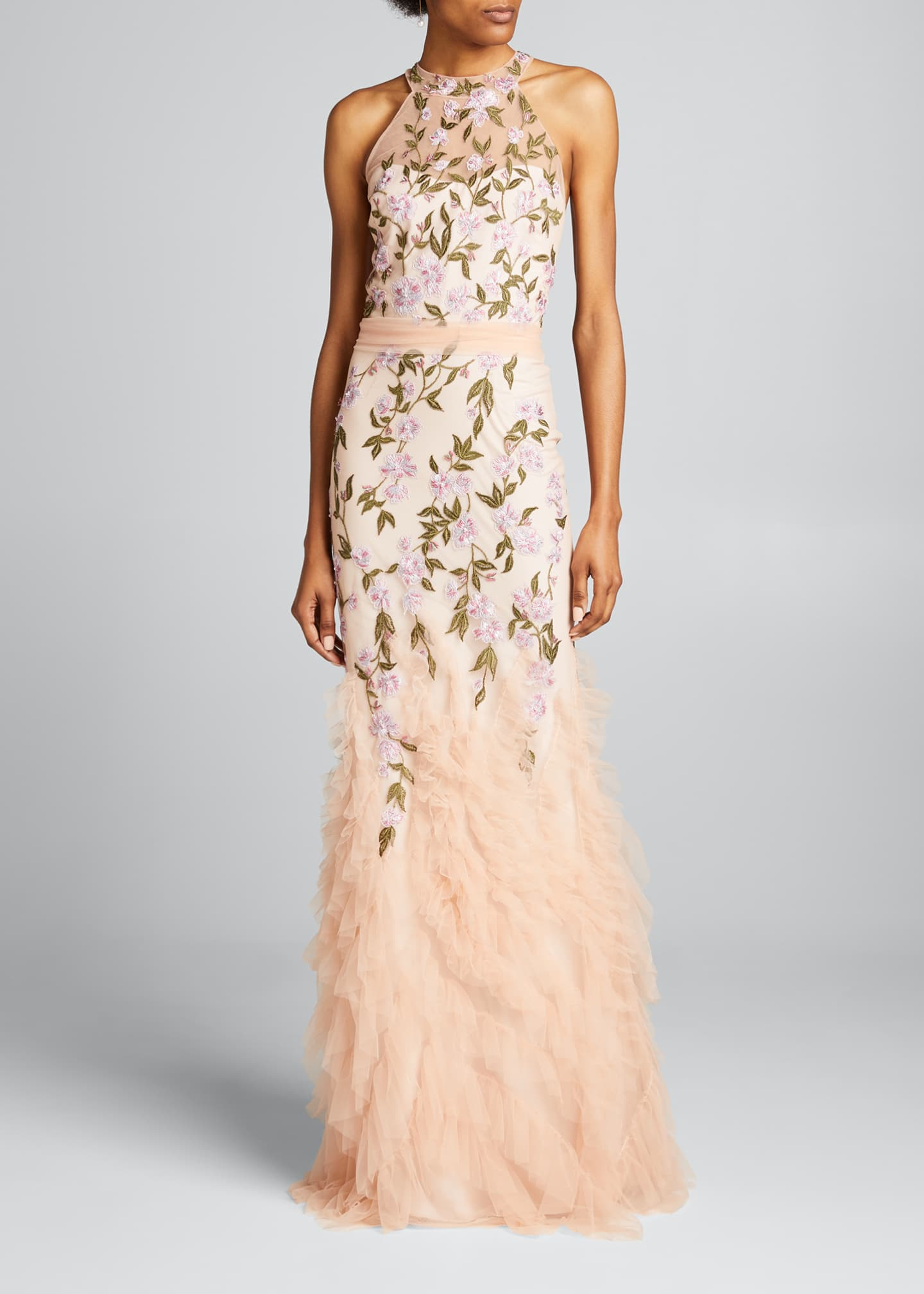 Image 3 of 5: Floral Embroidered Ruffle-Hem Halter Gown
