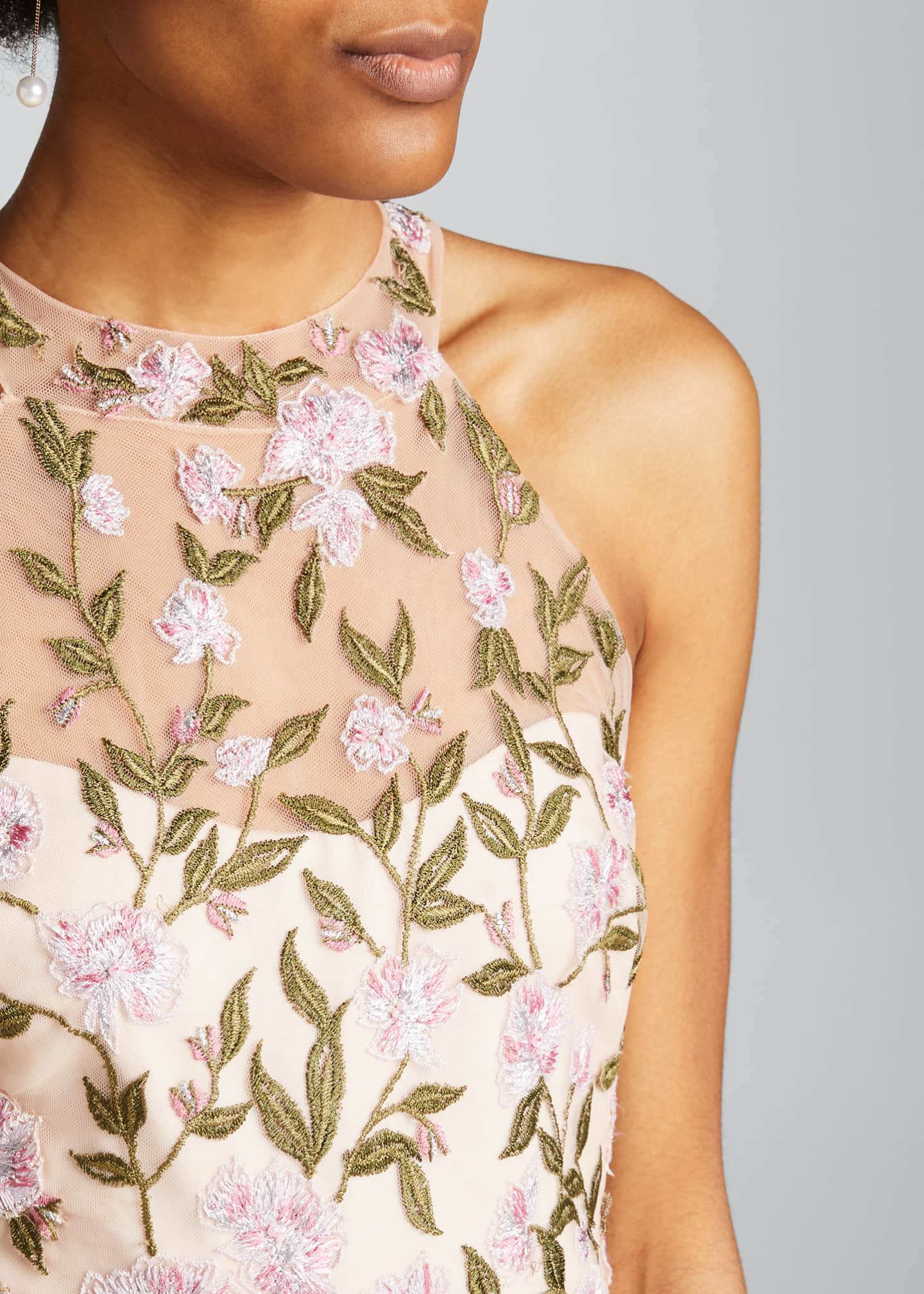 Image 4 of 5: Floral Embroidered Ruffle-Hem Halter Gown