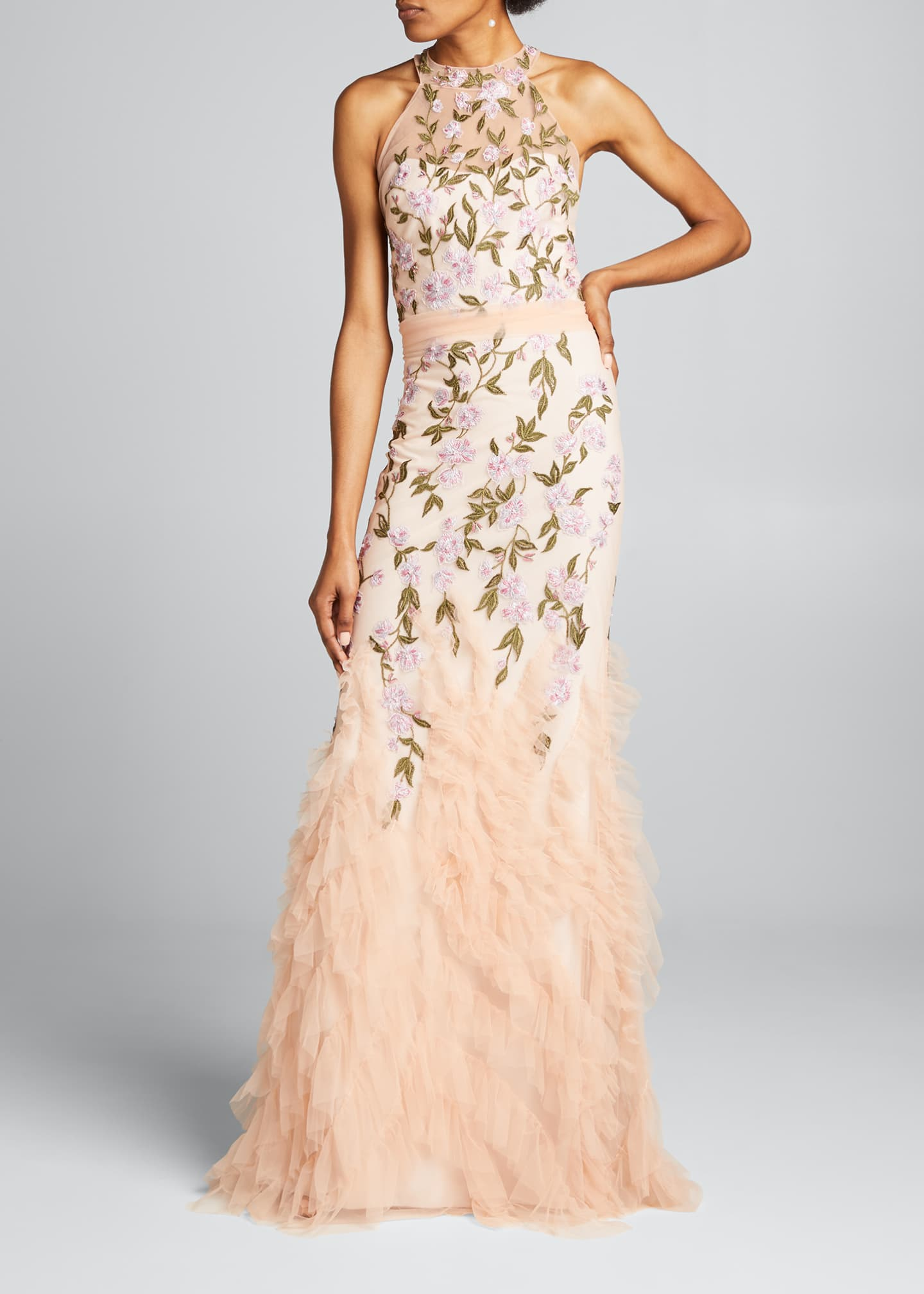 Image 1 of 5: Floral Embroidered Ruffle-Hem Halter Gown