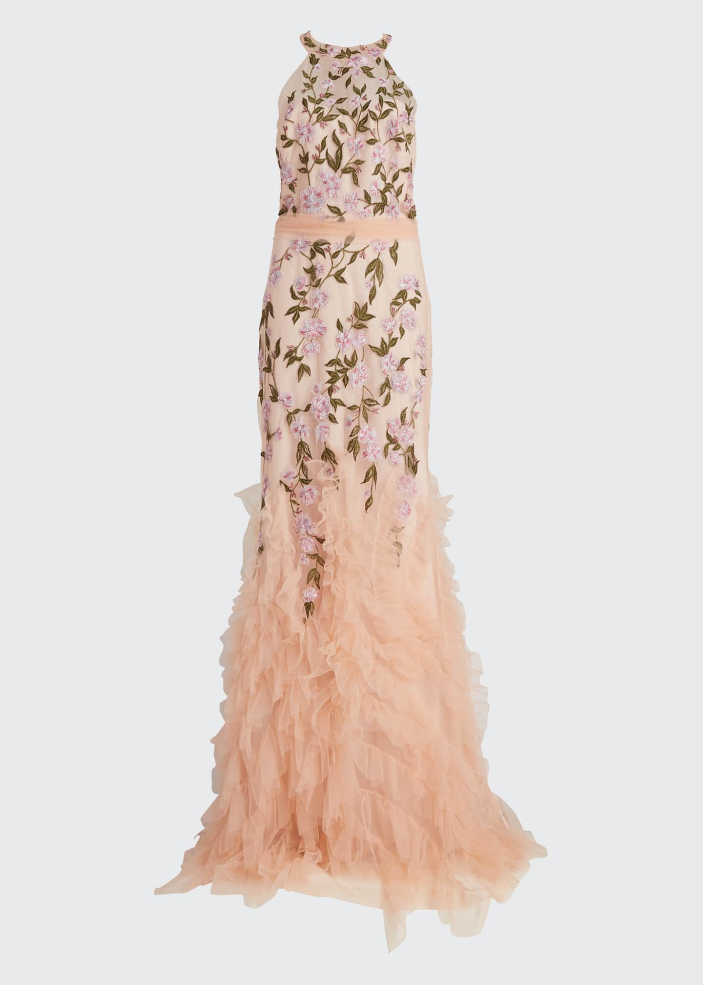 Image 5 of 5: Floral Embroidered Ruffle-Hem Halter Gown
