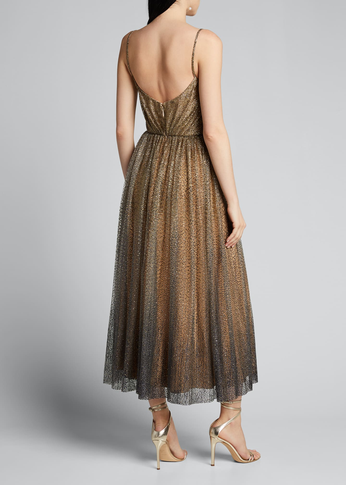 Image 2 of 5: Glittered Tulle Tea-Length Cocktail Dress