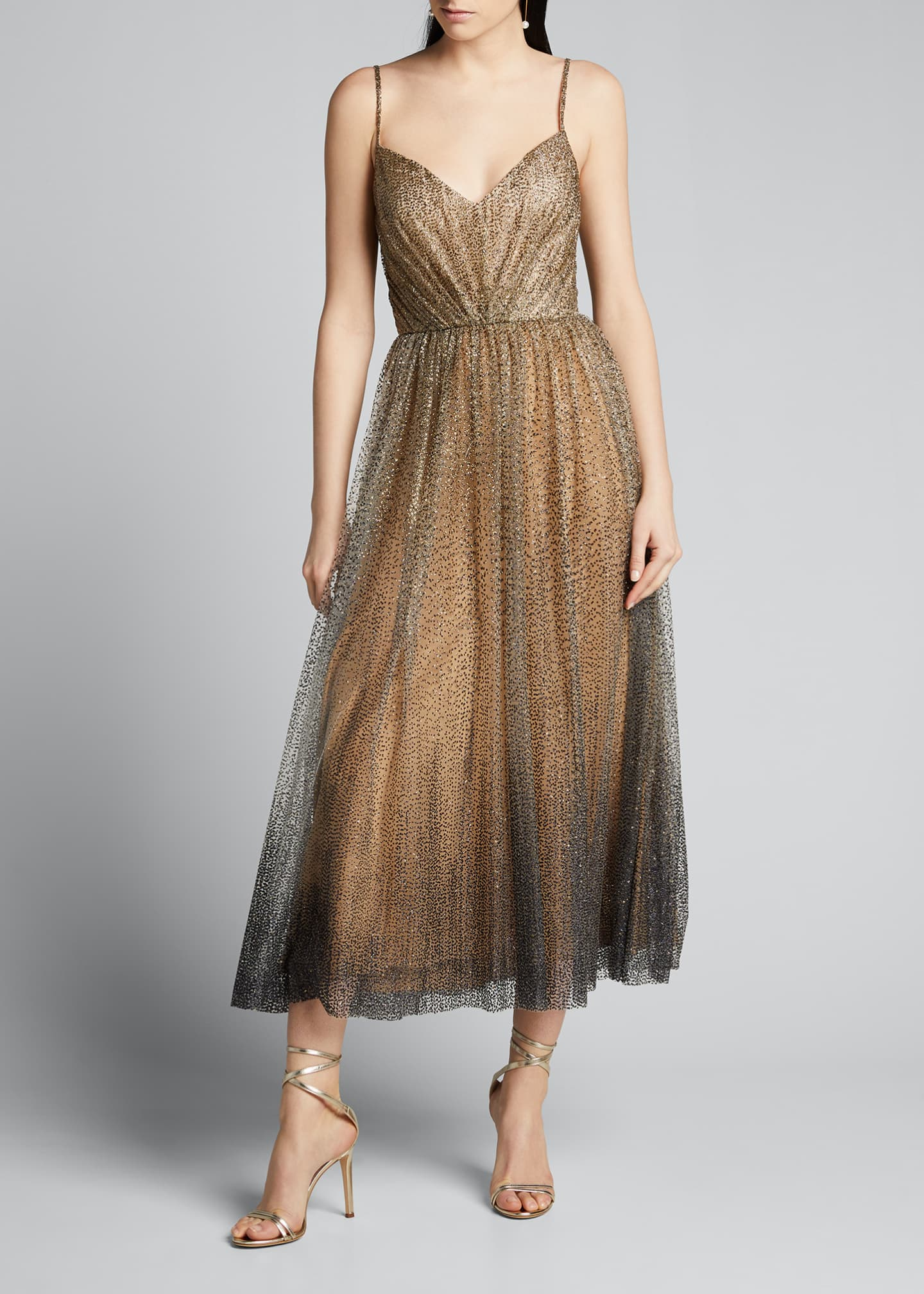 Image 3 of 5: Glittered Tulle Tea-Length Cocktail Dress