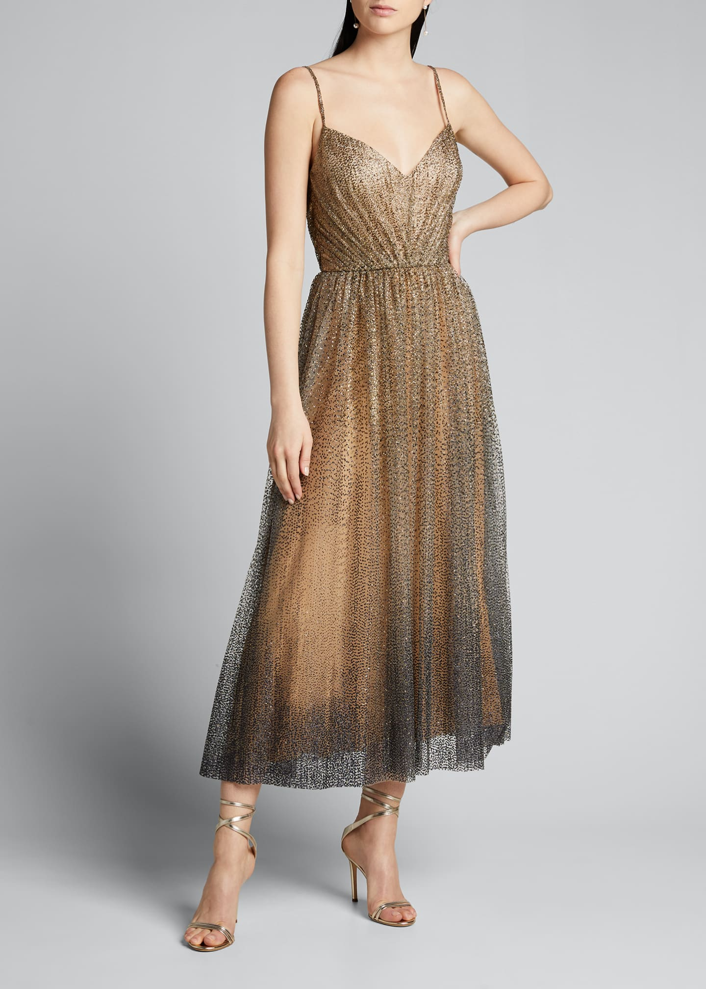 Image 1 of 5: Glittered Tulle Tea-Length Cocktail Dress