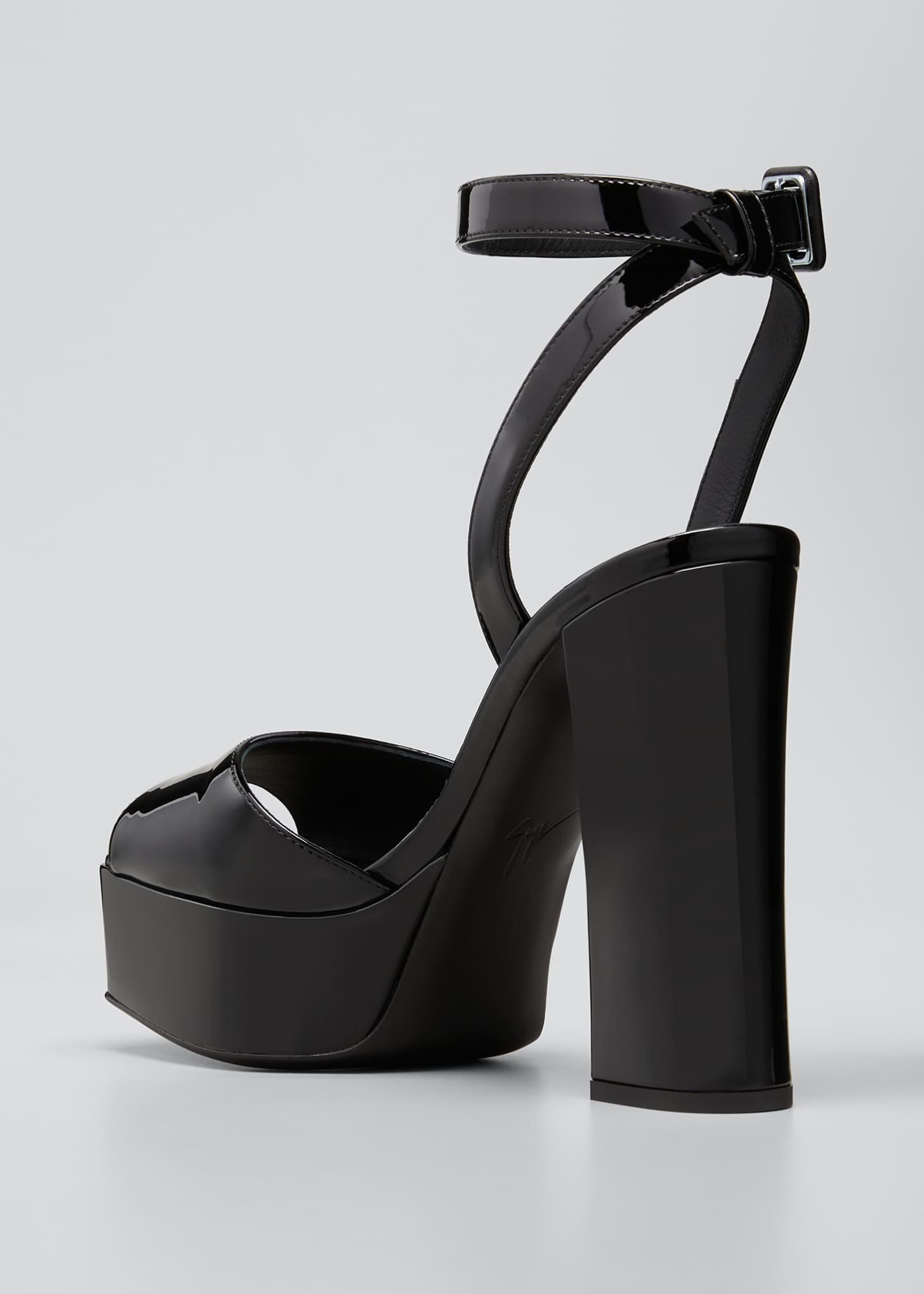 Image 4 of 5: Patent Platform Ankle-Wrap Sandals