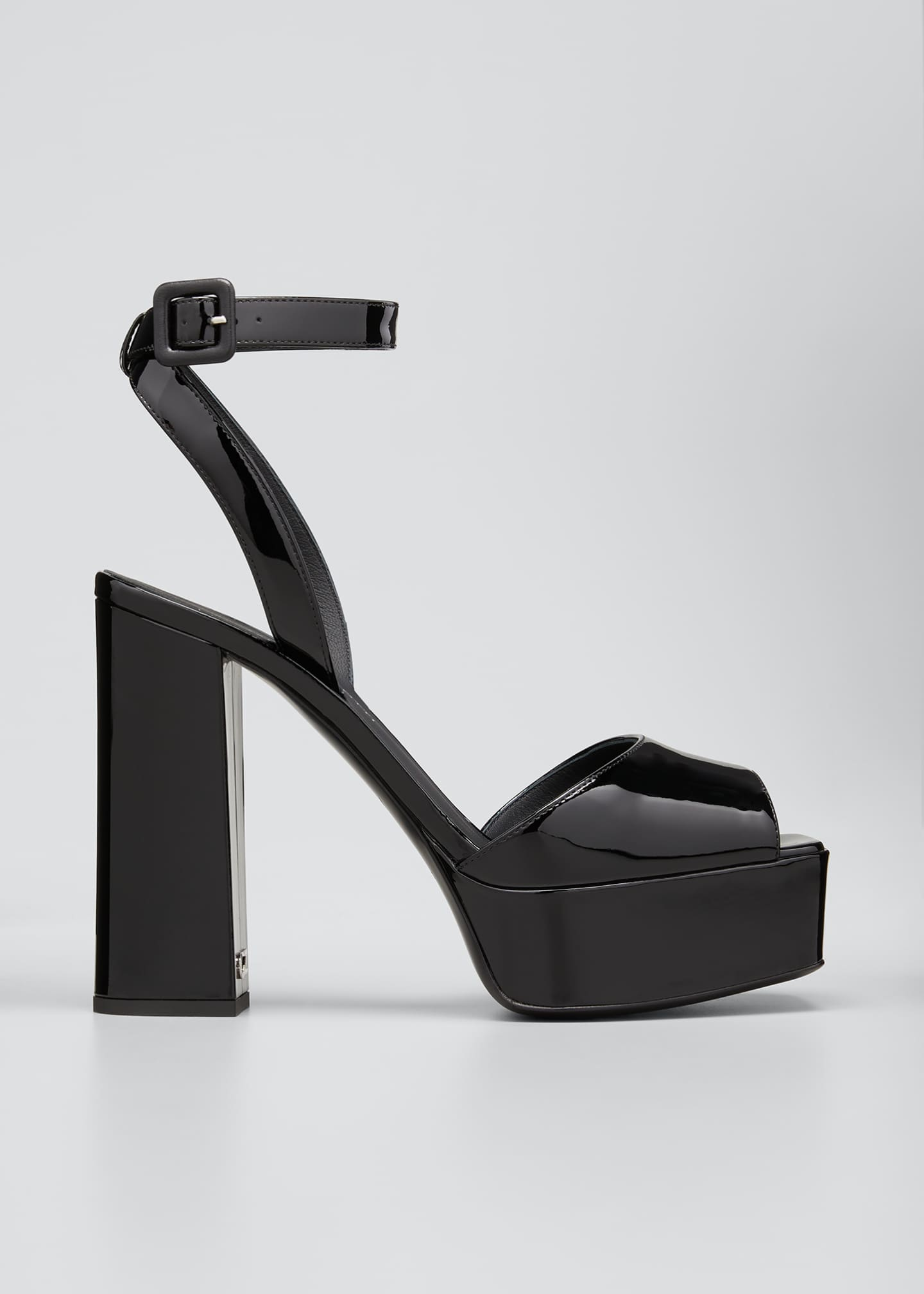 Image 1 of 5: Patent Platform Ankle-Wrap Sandals