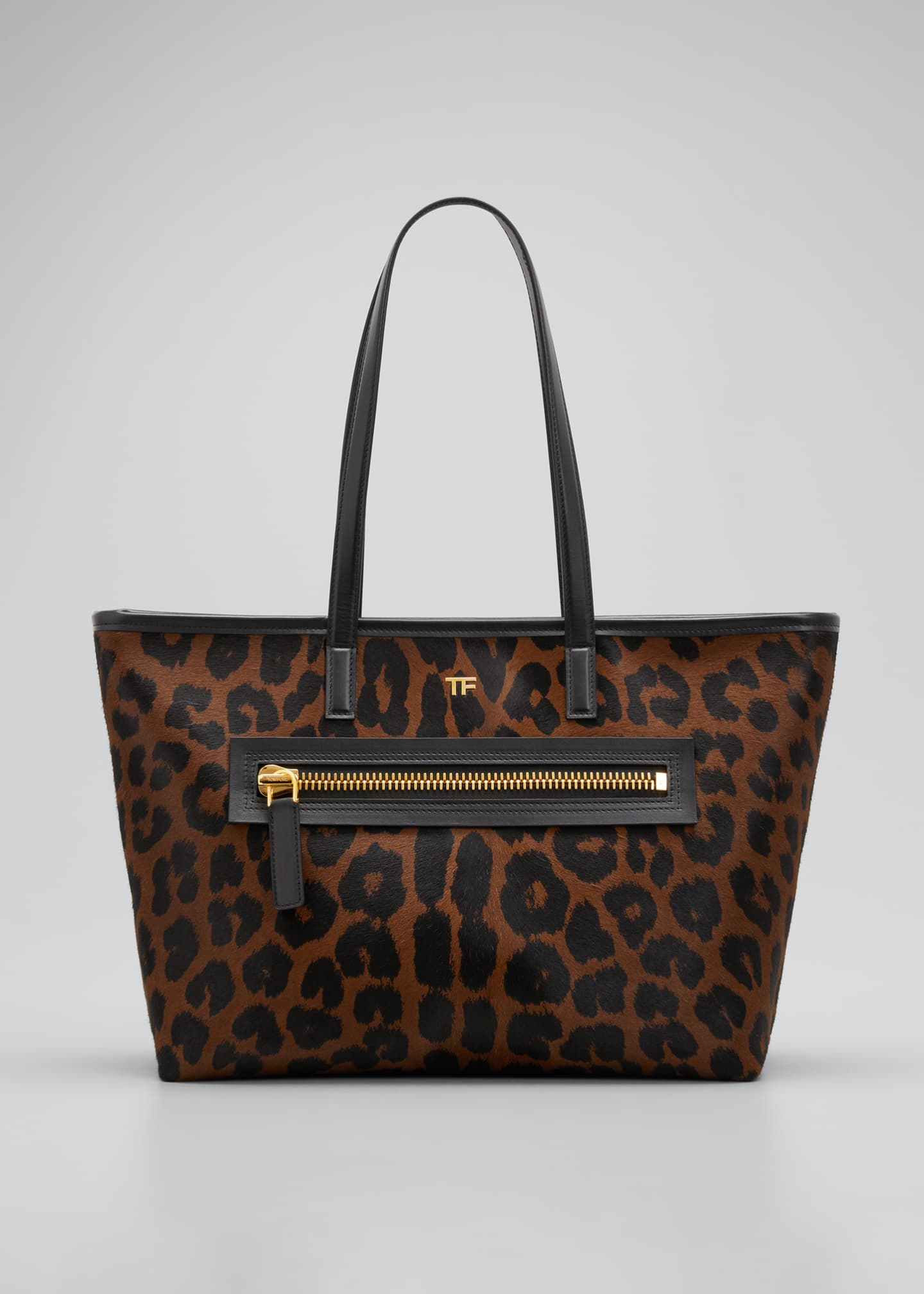 Image 1 of 3: Medium Leopard-Print Zip Tote Bag