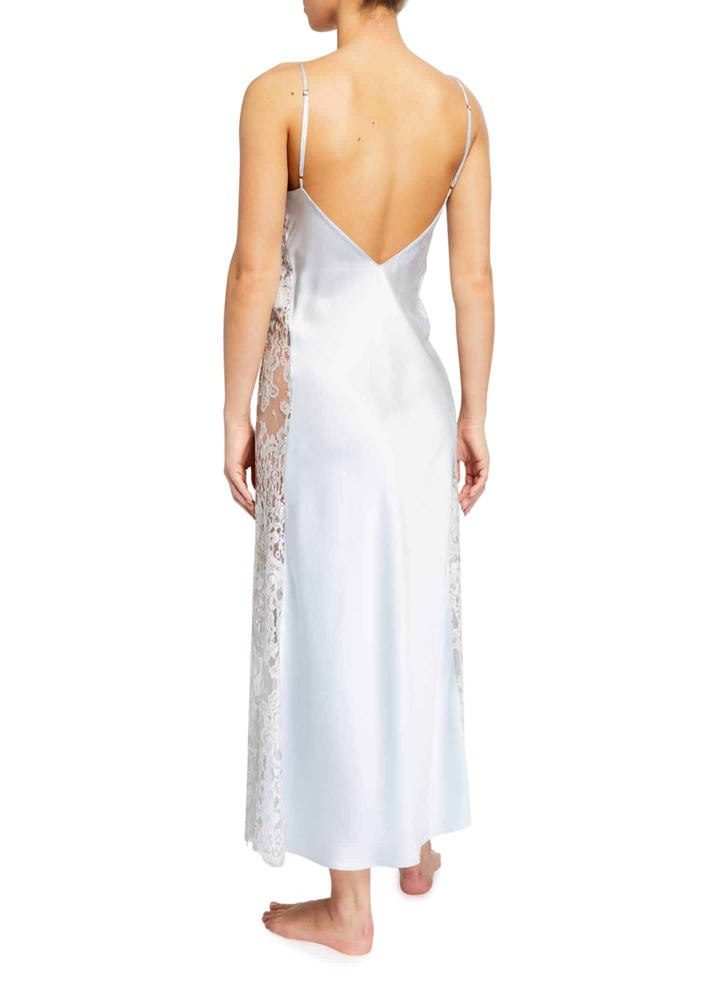 Image 2 of 2: Lace-Trim Side Panel Long Satin Nightgown