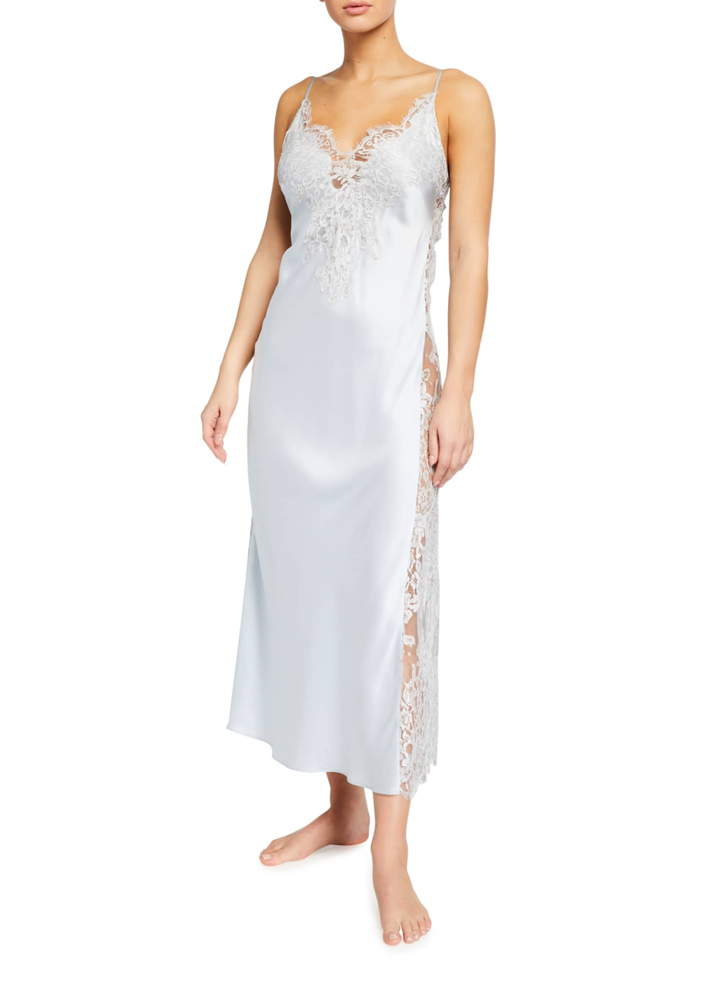 Image 1 of 2: Lace-Trim Side Panel Long Satin Nightgown