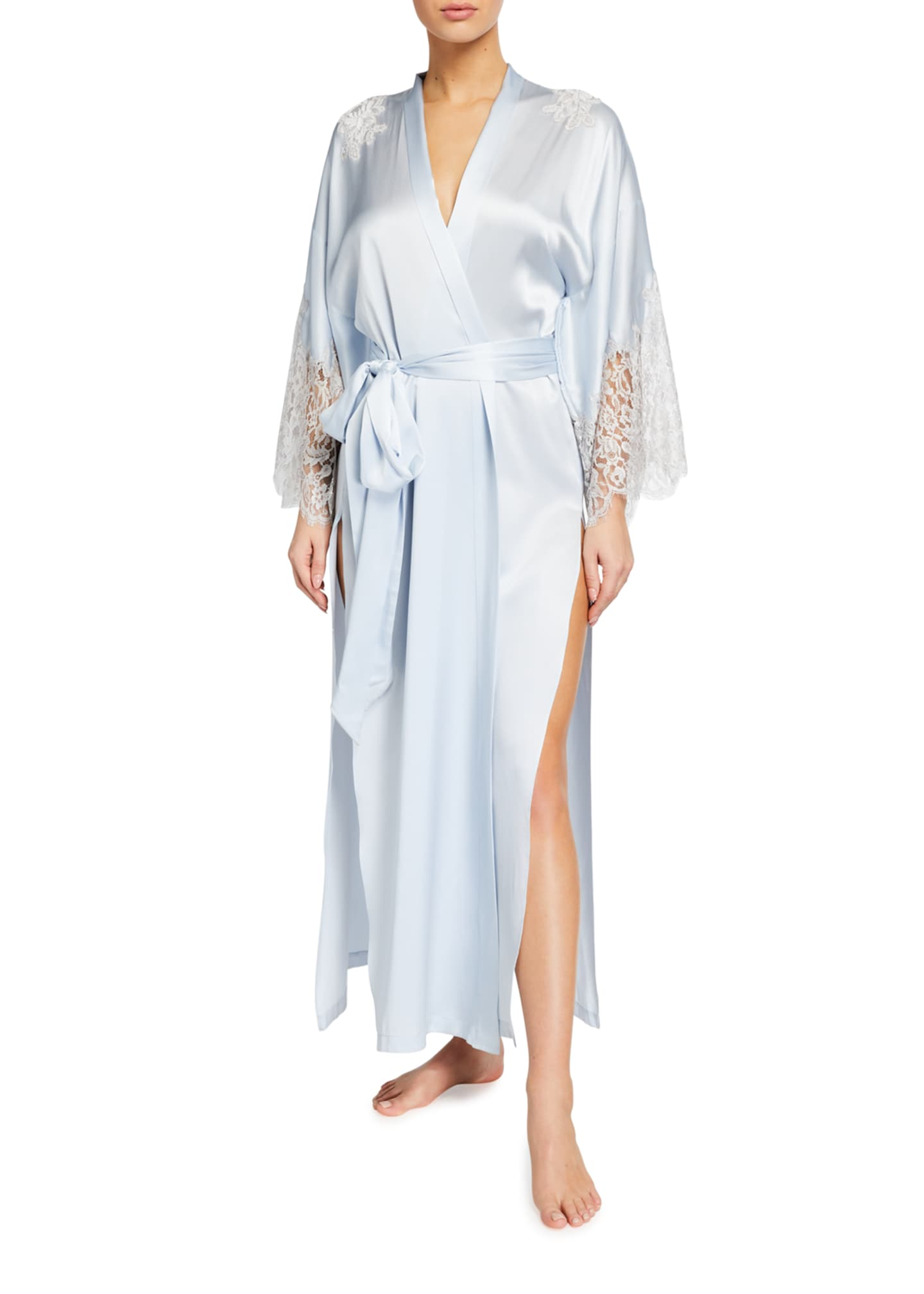 Image 1 of 2: Silk Charmeuse Lace-Sleeve Long Robe