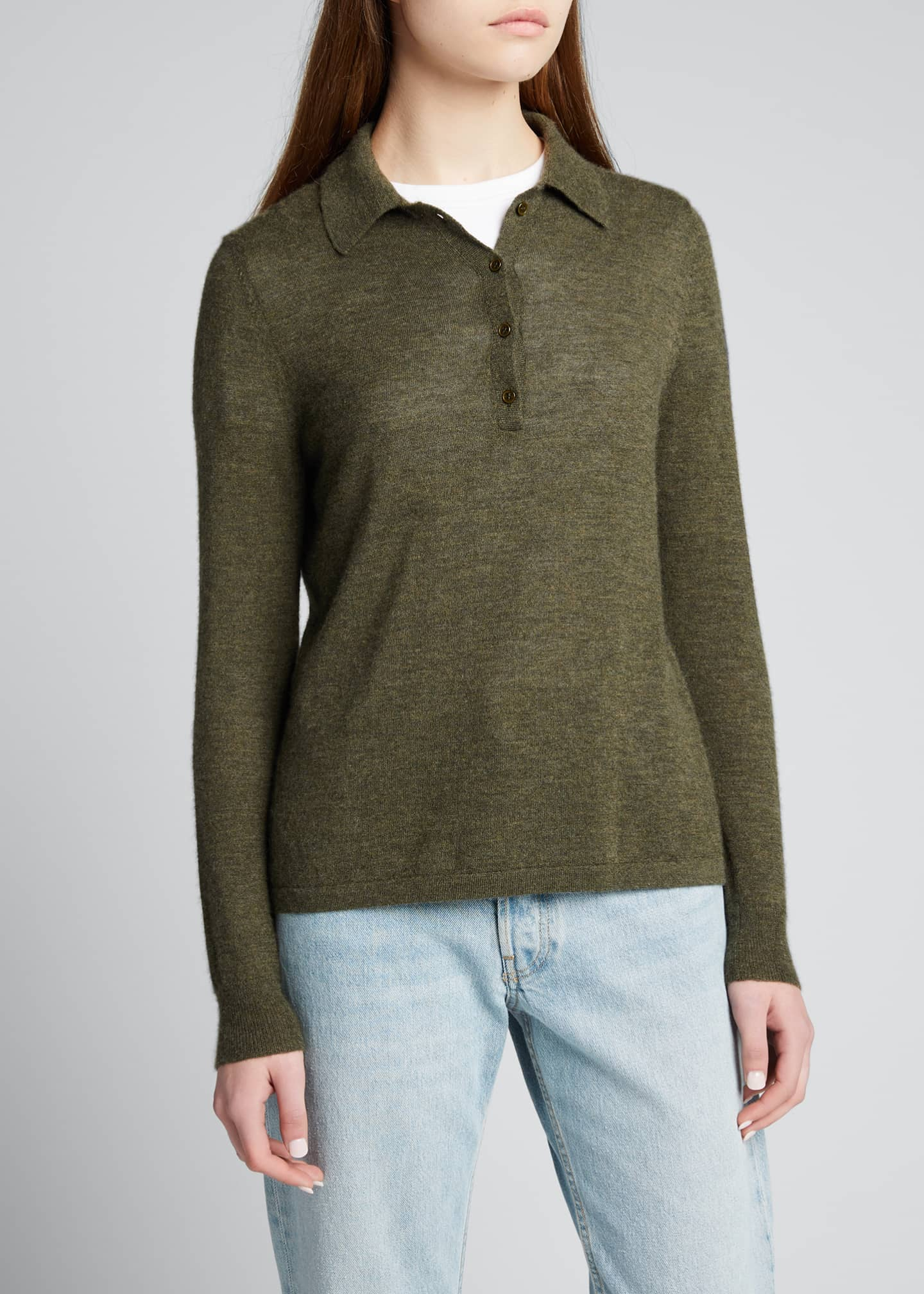 Image 3 of 5: Cashmere Polo Sweater