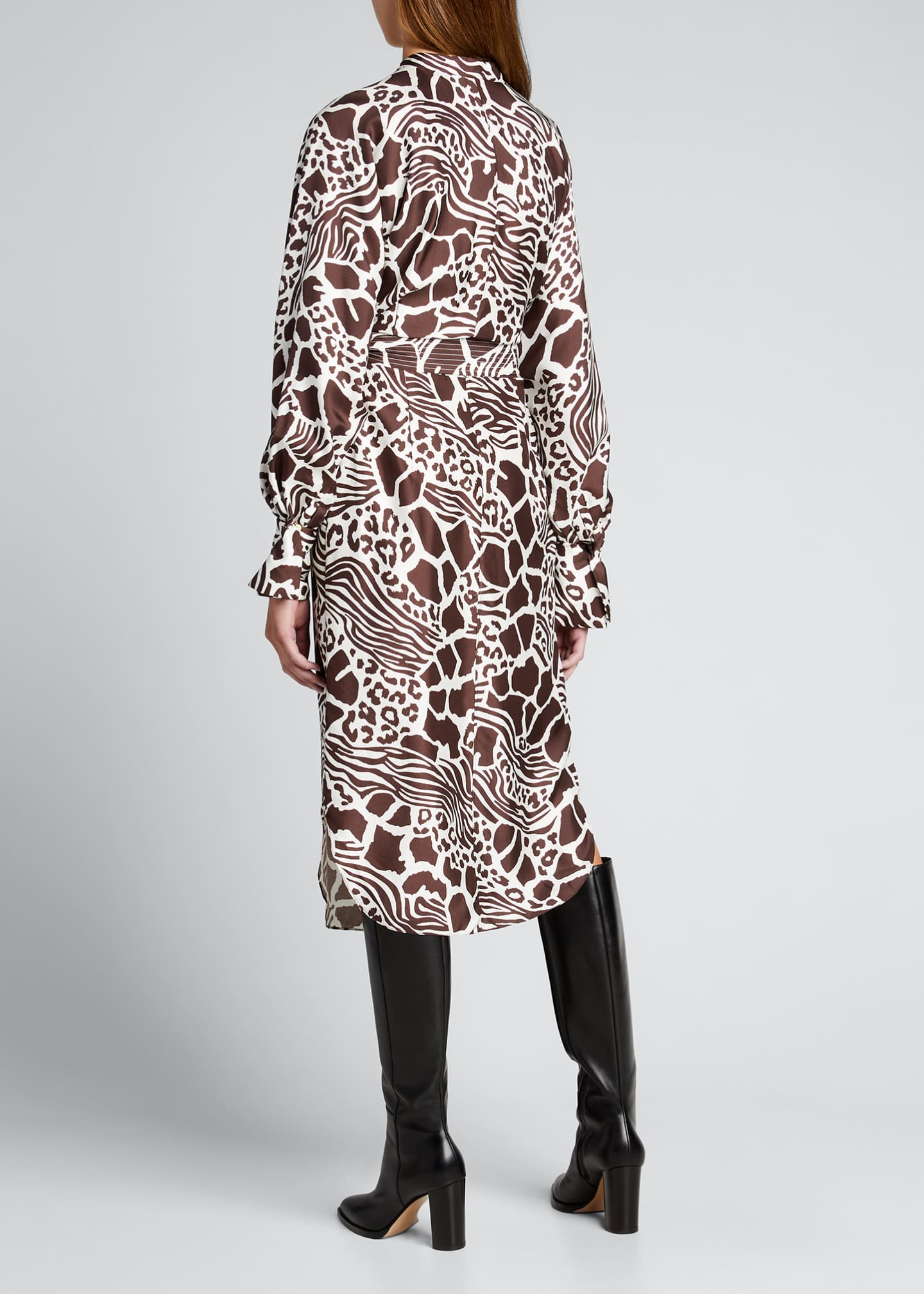 Image 2 of 5: Printed Dolman Sleeve Silk Dress