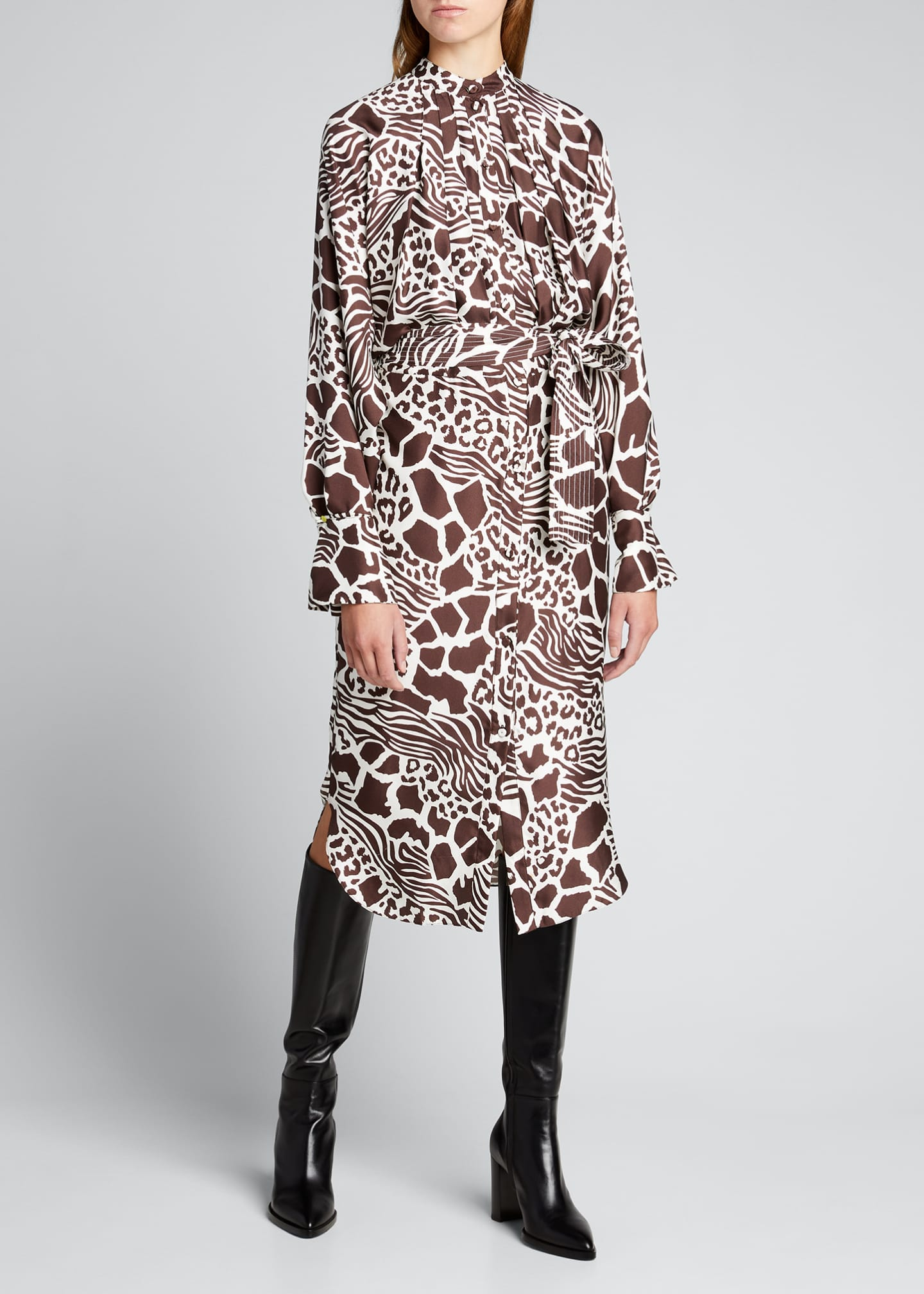 Image 3 of 5: Printed Dolman Sleeve Silk Dress