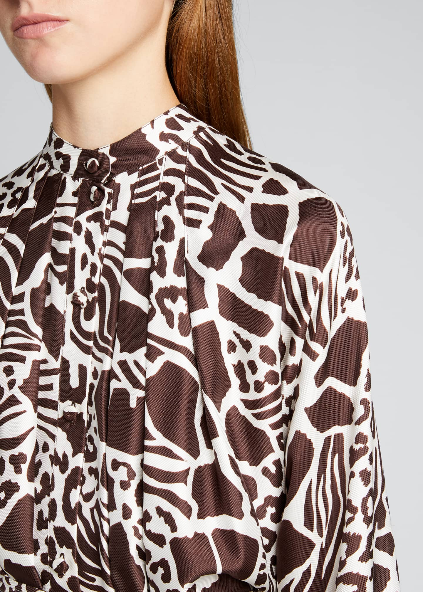 Image 4 of 5: Printed Dolman Sleeve Silk Dress