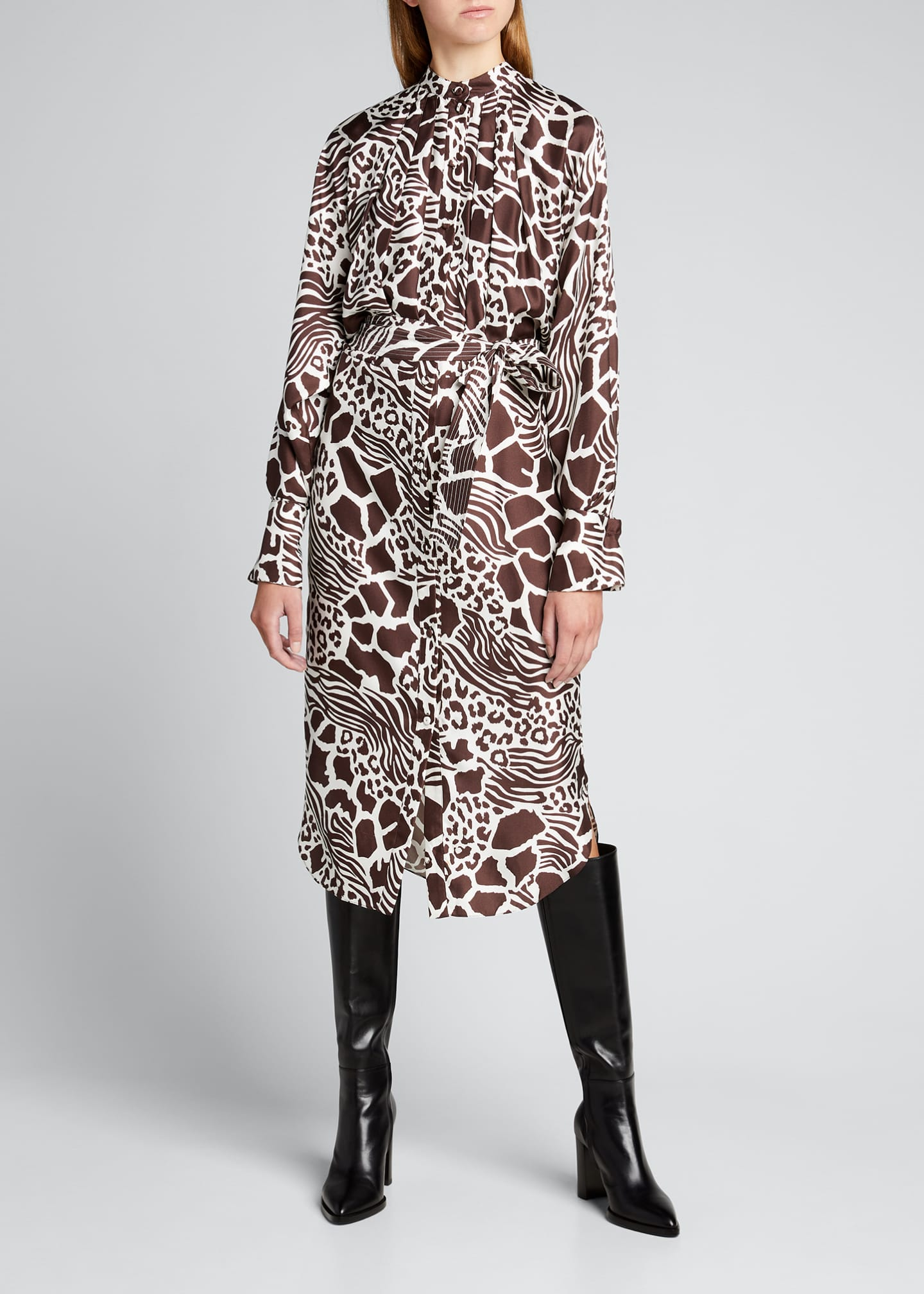 Image 1 of 5: Printed Dolman Sleeve Silk Dress