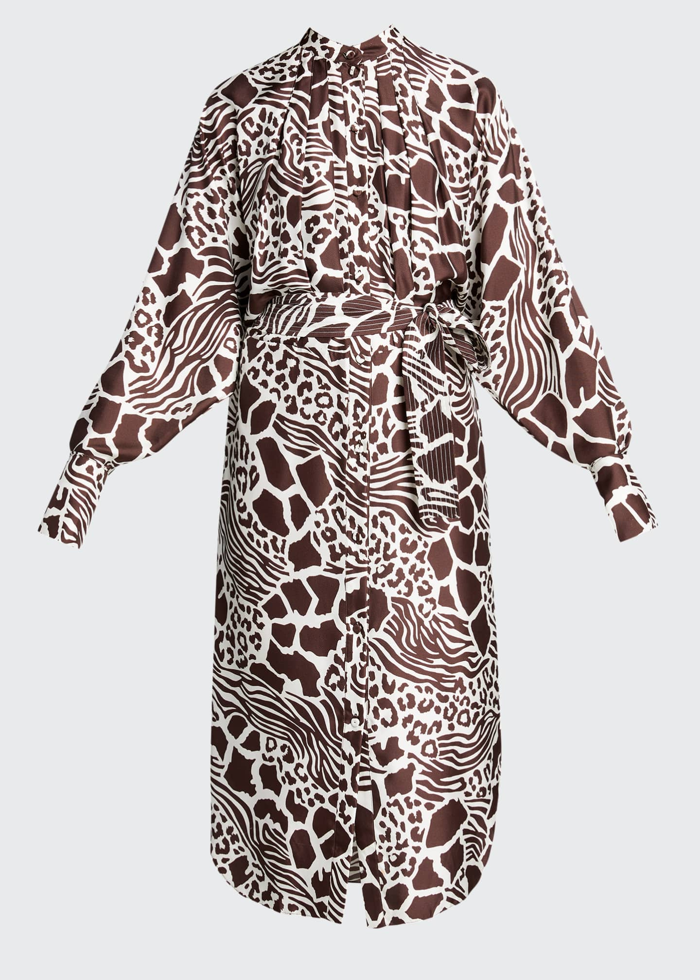 Image 5 of 5: Printed Dolman Sleeve Silk Dress