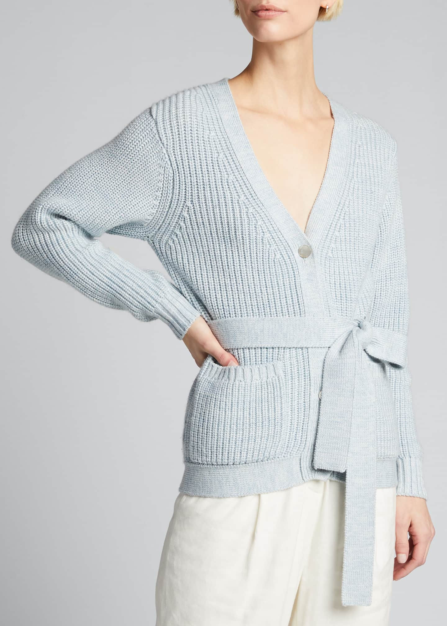 Image 3 of 5: Fine Ribbed-Knit Slouchy Cardigan