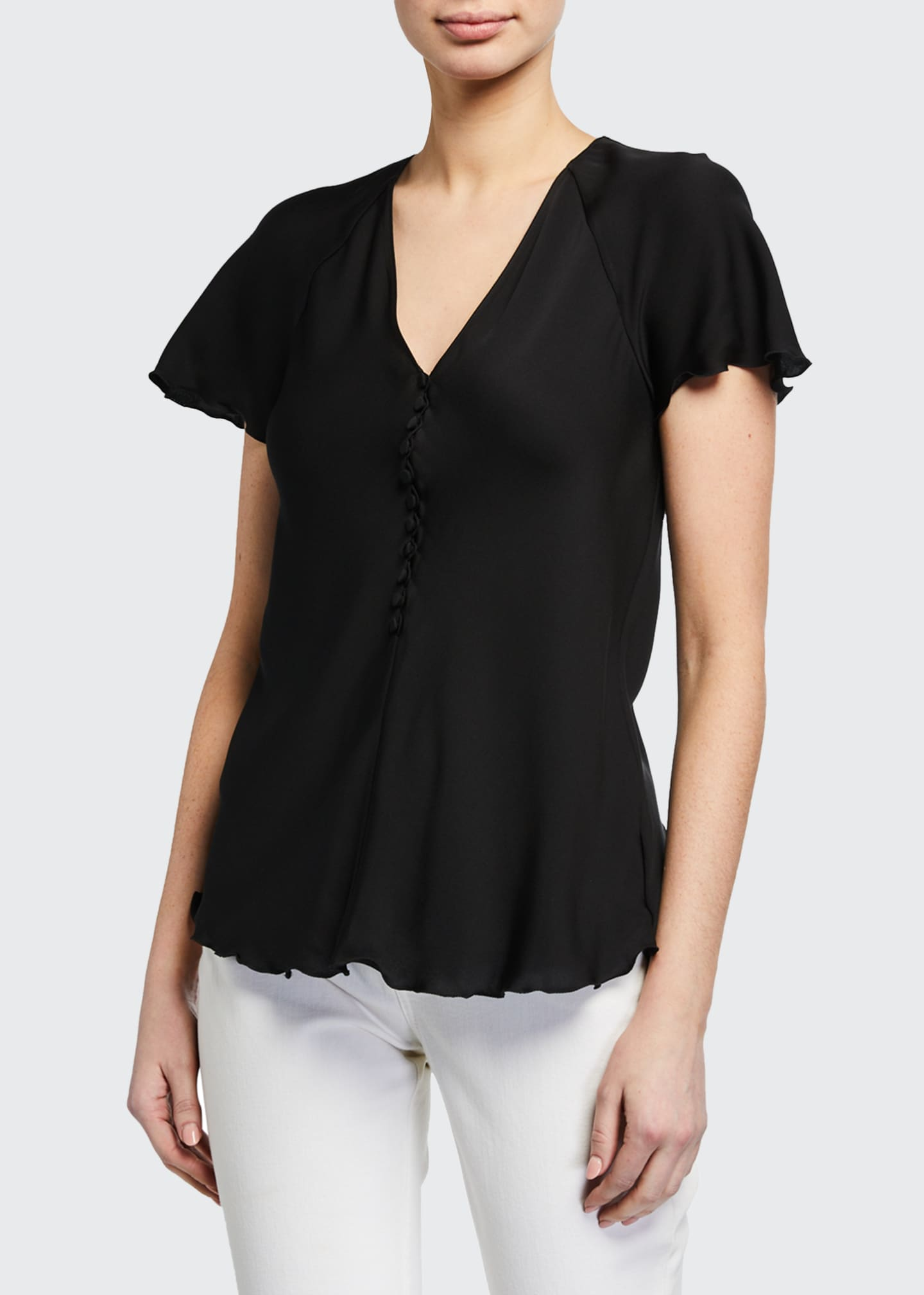 Image 1 of 2: V-Neck Button-Front Silk Top