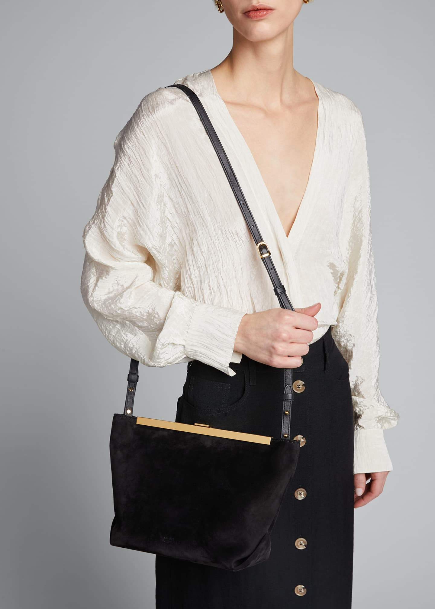 Image 2 of 5: Augusta Frame Suede Clutch Bag