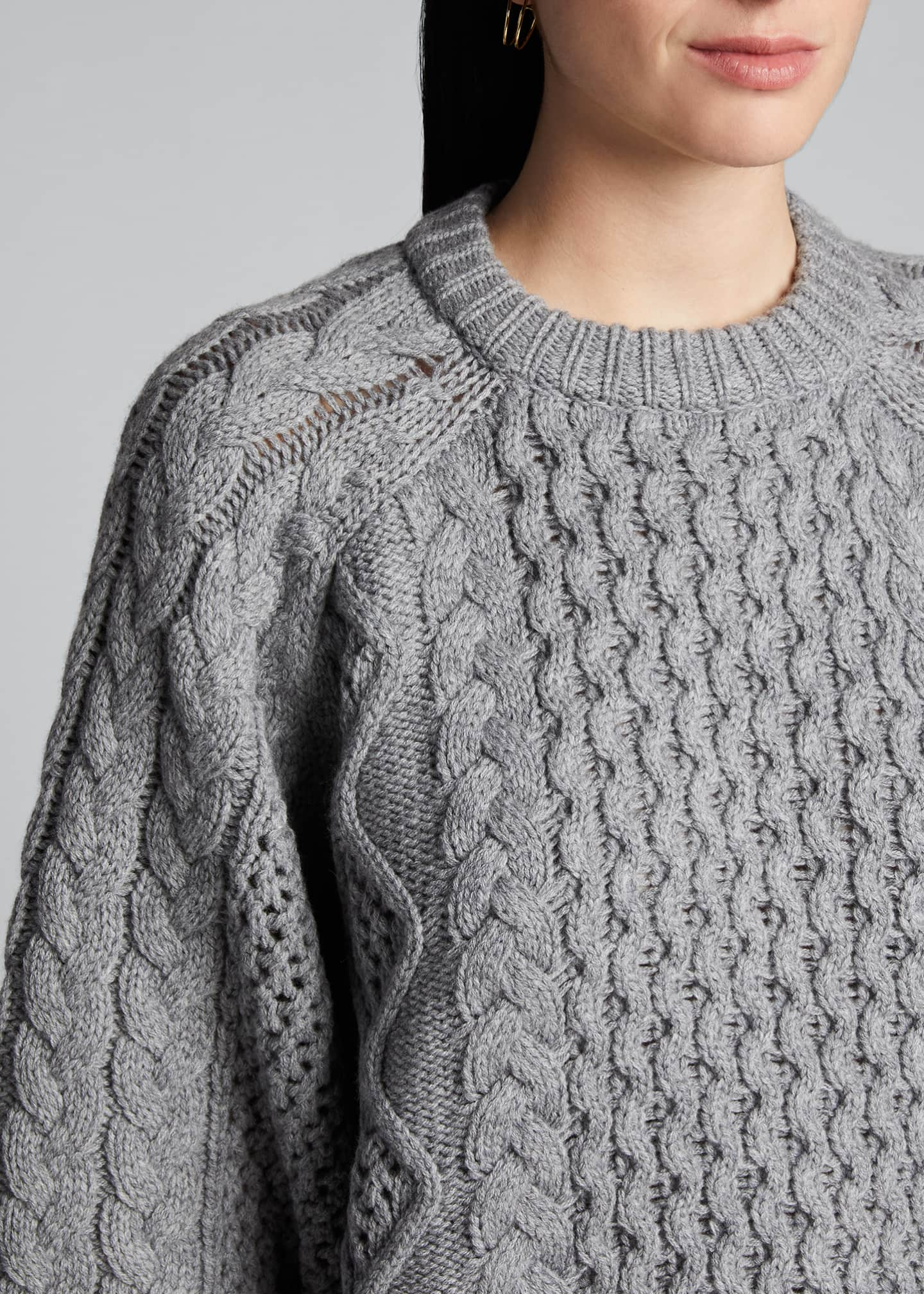 Image 4 of 5: Chunky Wool-Cashmere Sweater