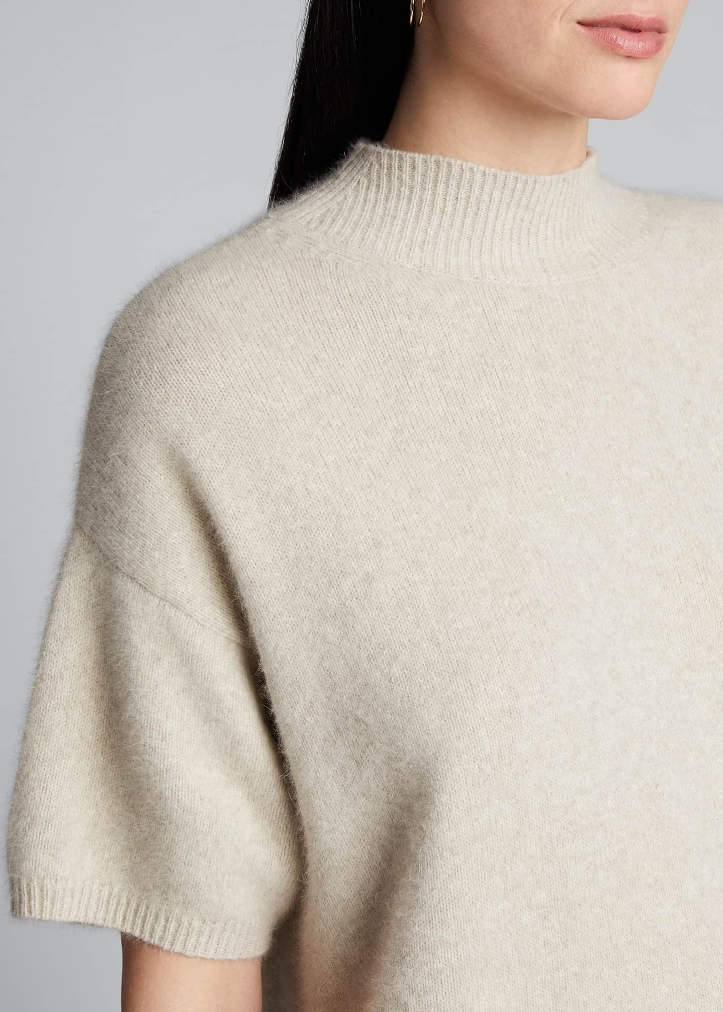 Image 4 of 5: Wool Mock-Neck Slouchy Sweater
