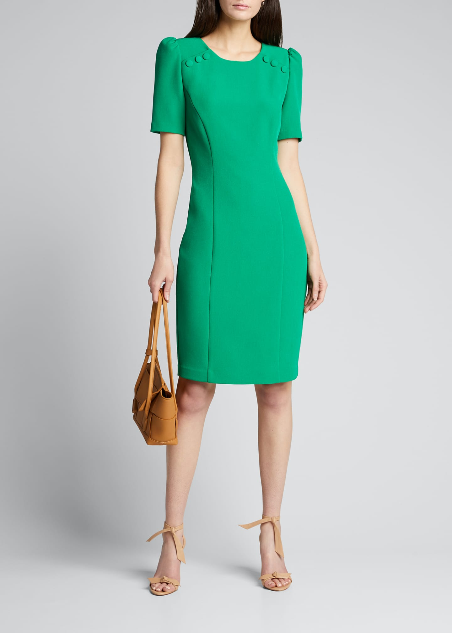 Badgley Mischka Collection Short-Sleeve Sheath Dress w/ Buttons