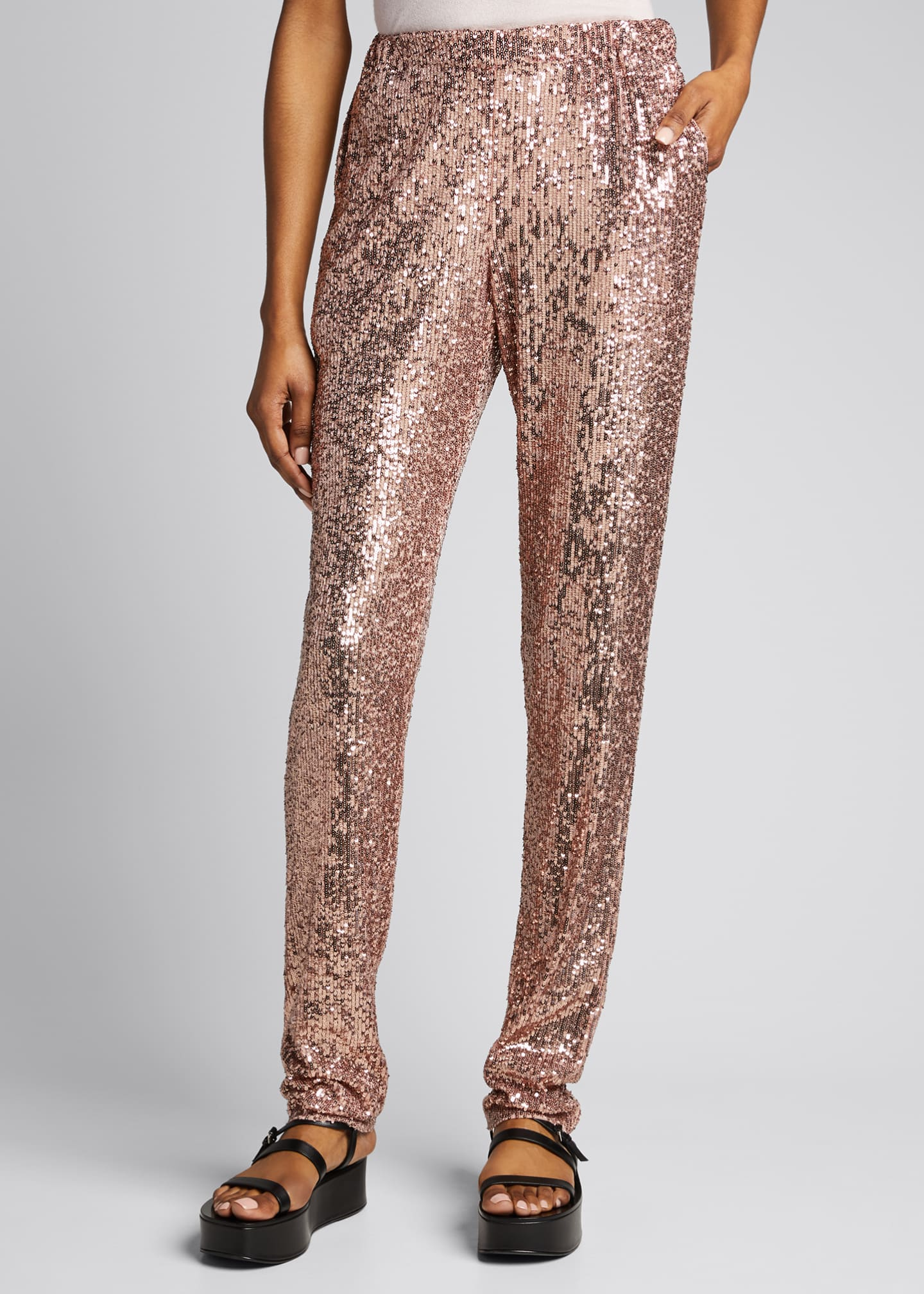 Image 3 of 5: Sequined Pull-On Skinny Pants
