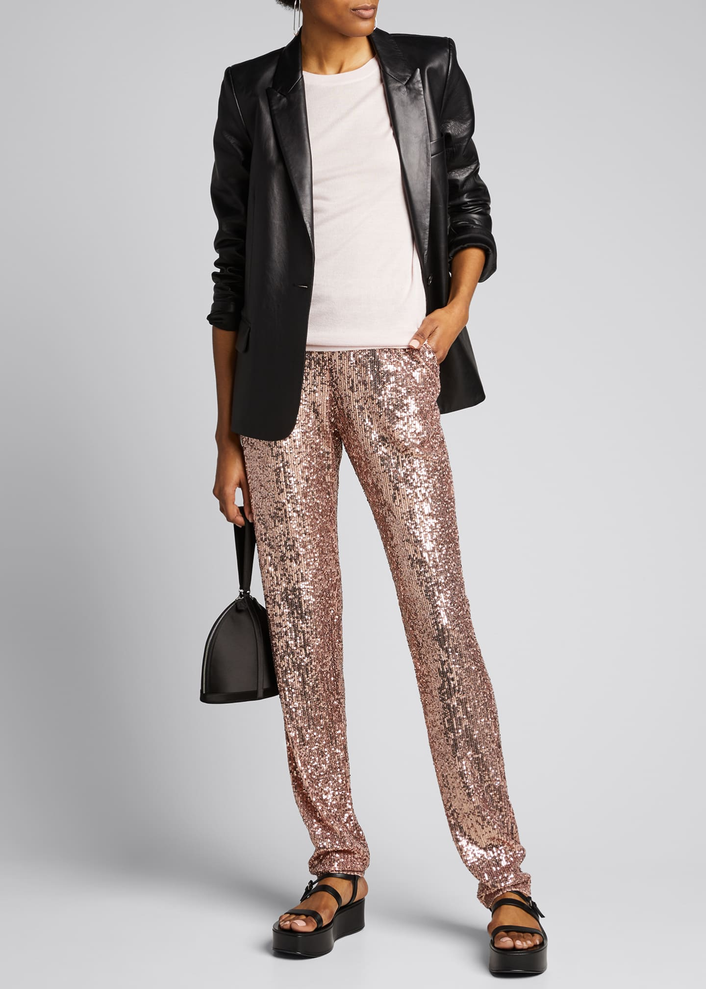 Image 1 of 5: Sequined Pull-On Skinny Pants