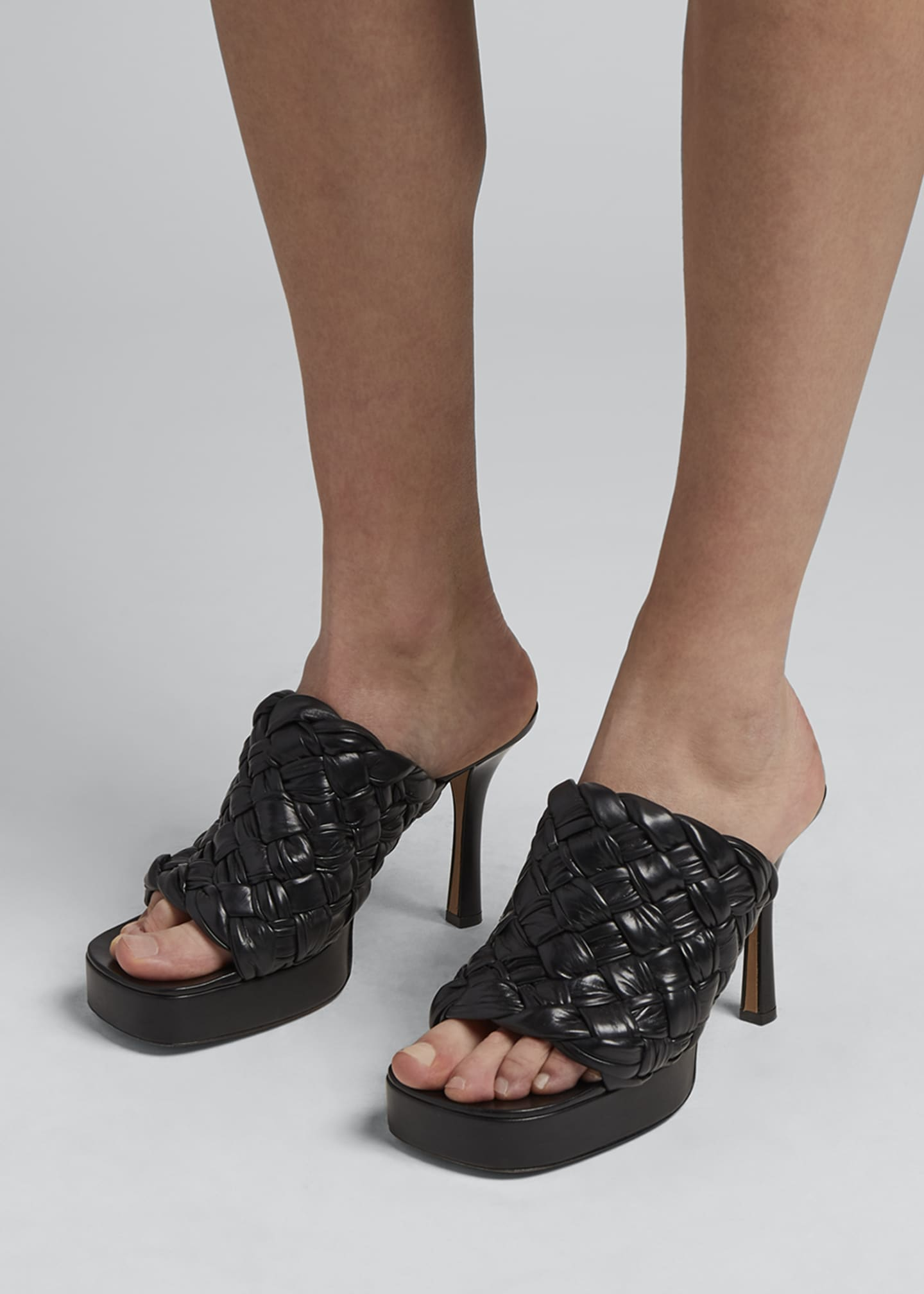 Image 2 of 4: 105mm Woven Shiny Leather Platform Sandals