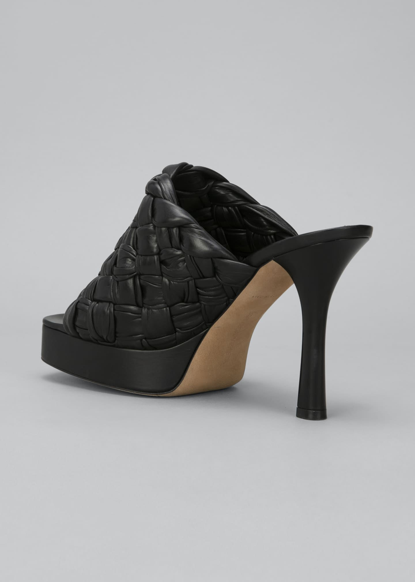 Image 3 of 4: 105mm Woven Shiny Leather Platform Sandals