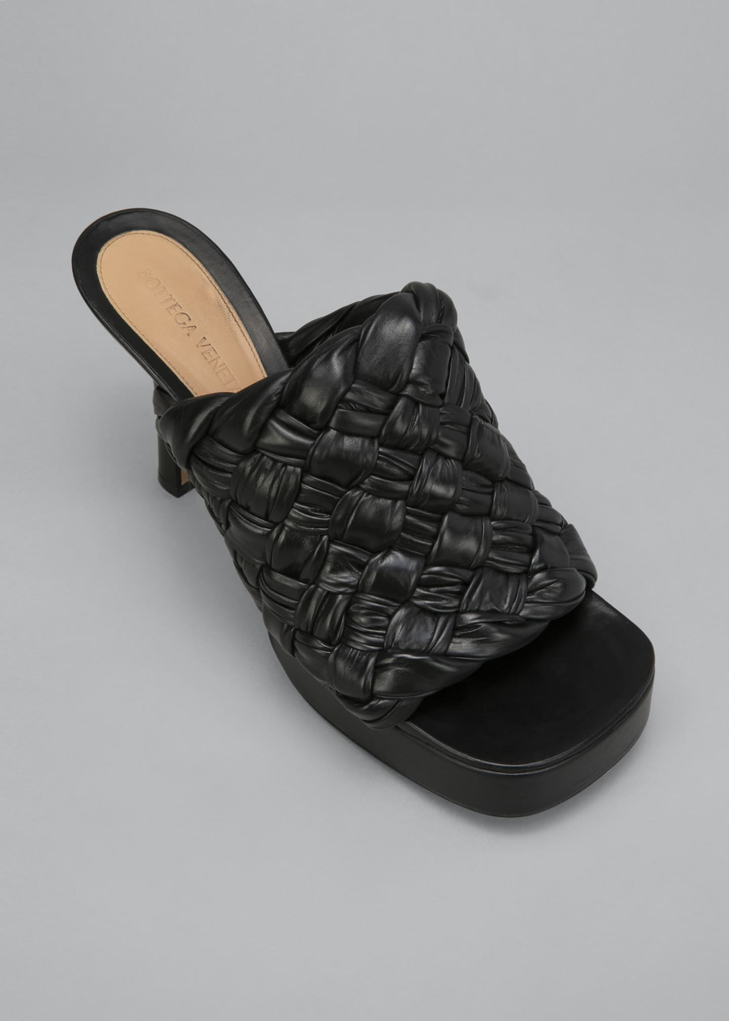 Image 4 of 4: 105mm Woven Shiny Leather Platform Sandals