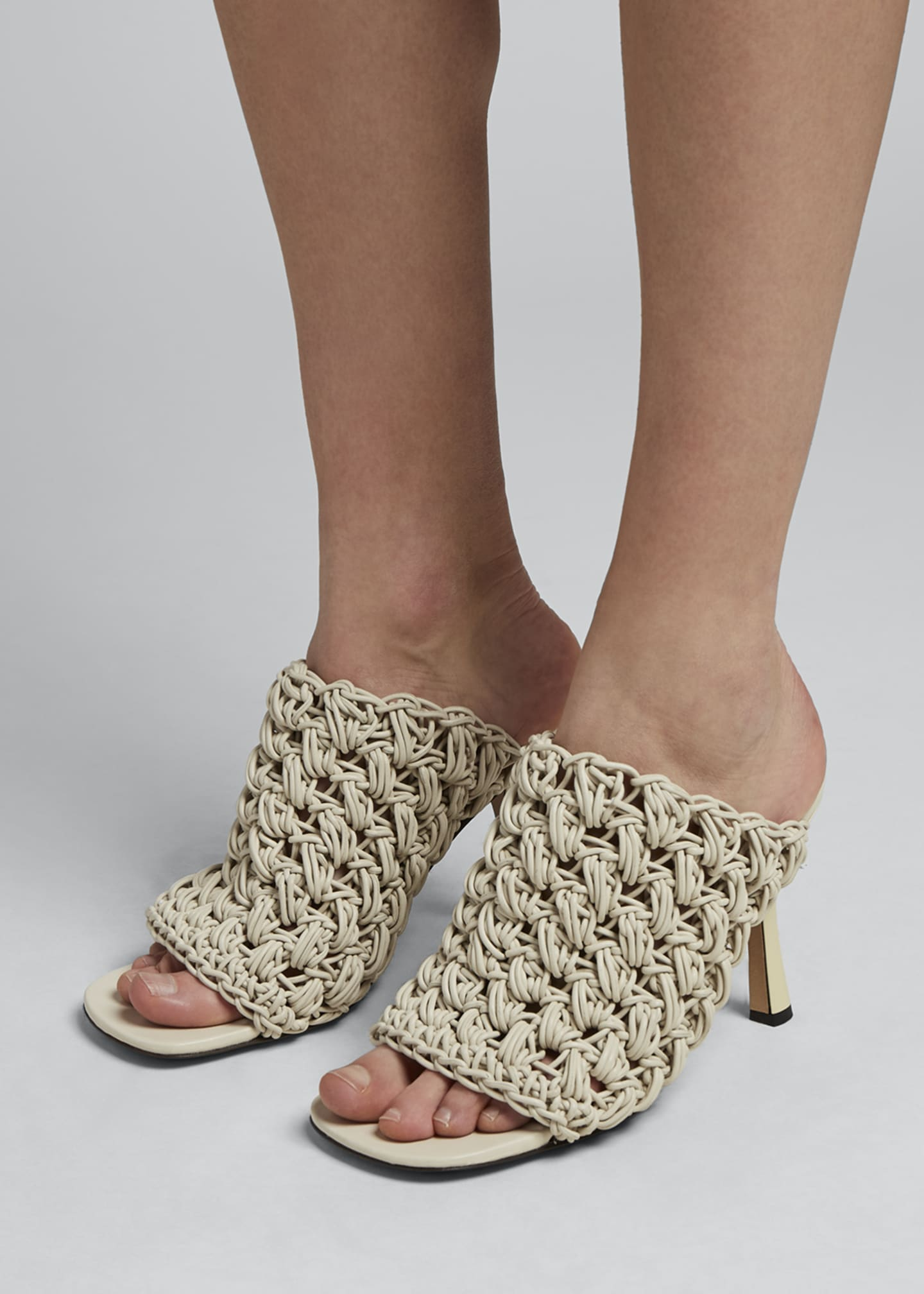 Image 2 of 5: 90mm Crochet Napa Mule Sandals
