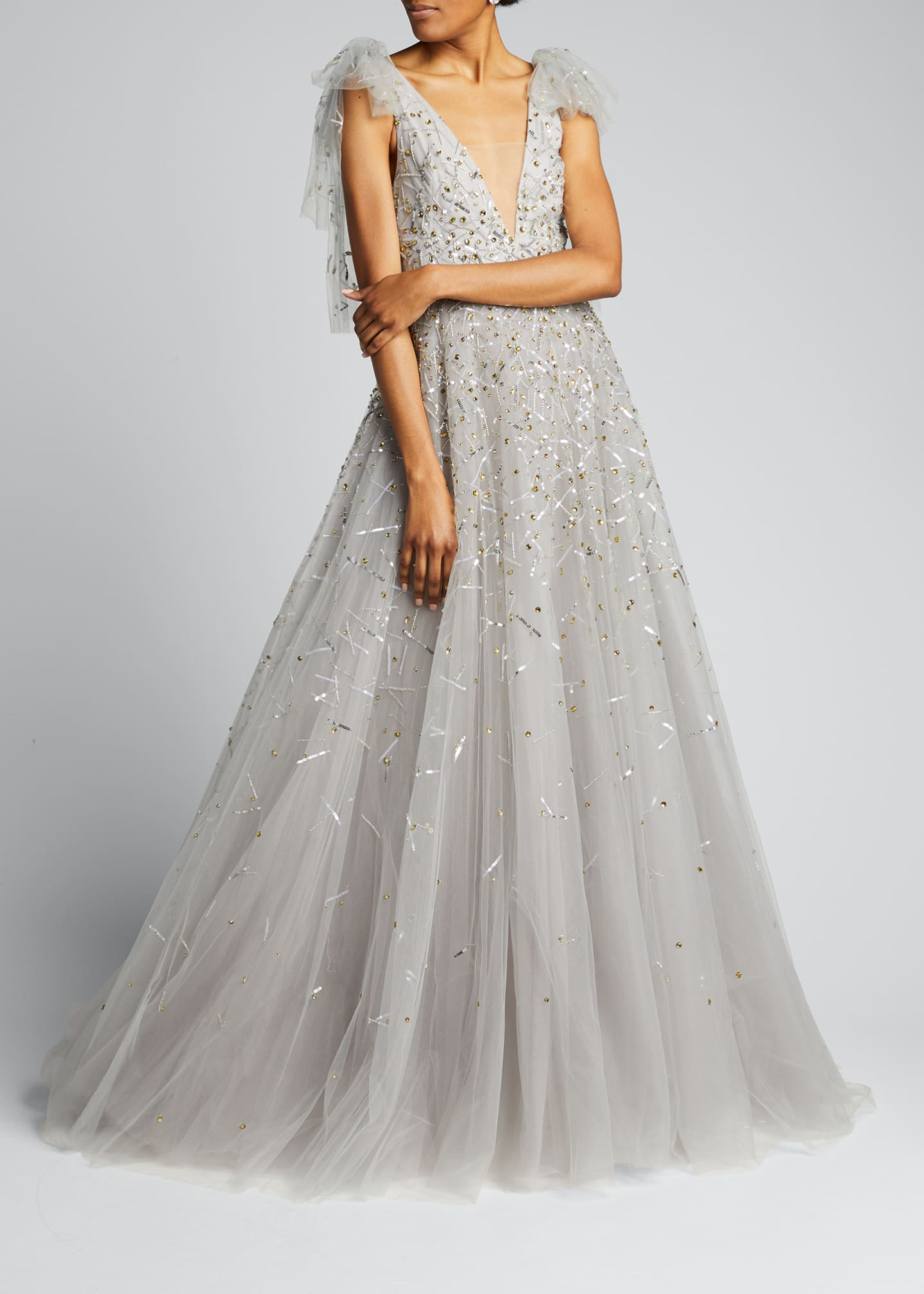 Image 3 of 5: Embroidered Tulle V-Neck Gown