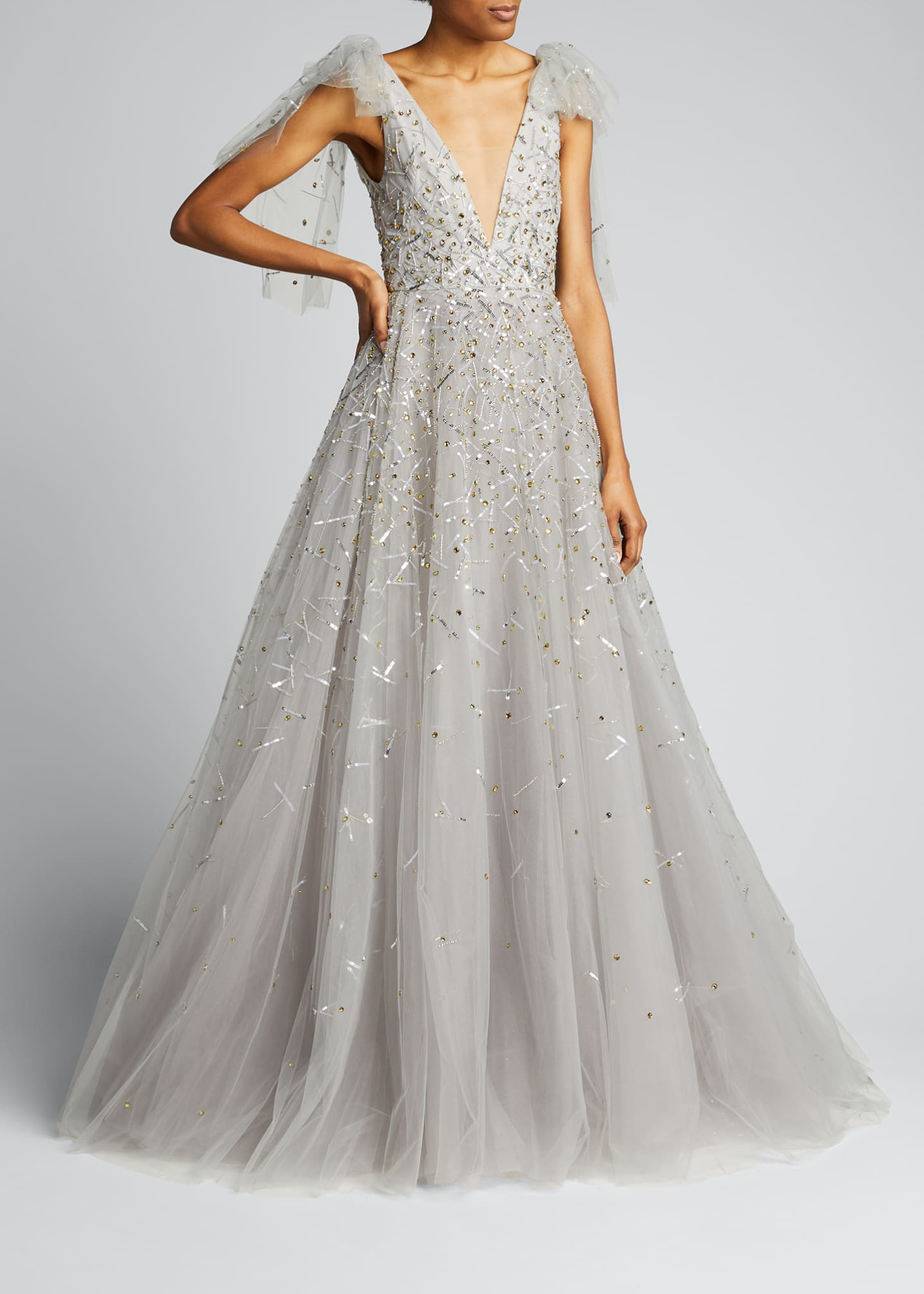 Image 1 of 5: Embroidered Tulle V-Neck Gown
