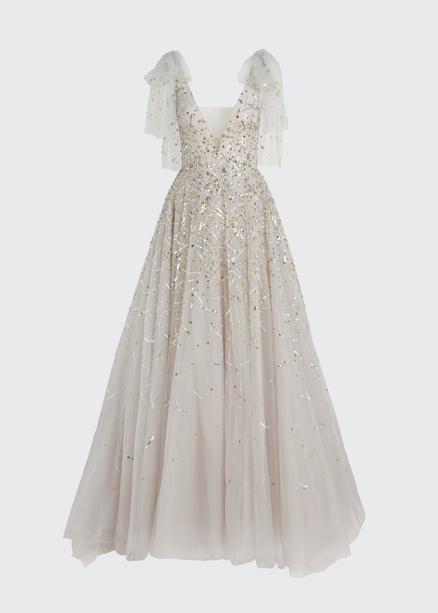 Image 5 of 5: Embroidered Tulle V-Neck Gown