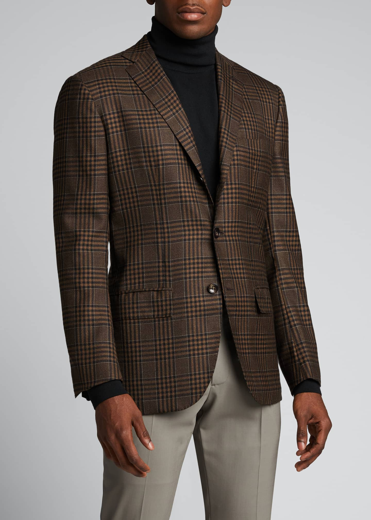 Image 3 of 5: Men's Large Plaid Cashmere Sport Jacket