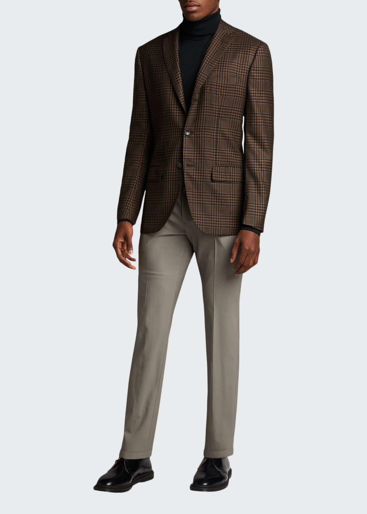 Image 1 of 5: Men's Large Plaid Cashmere Sport Jacket