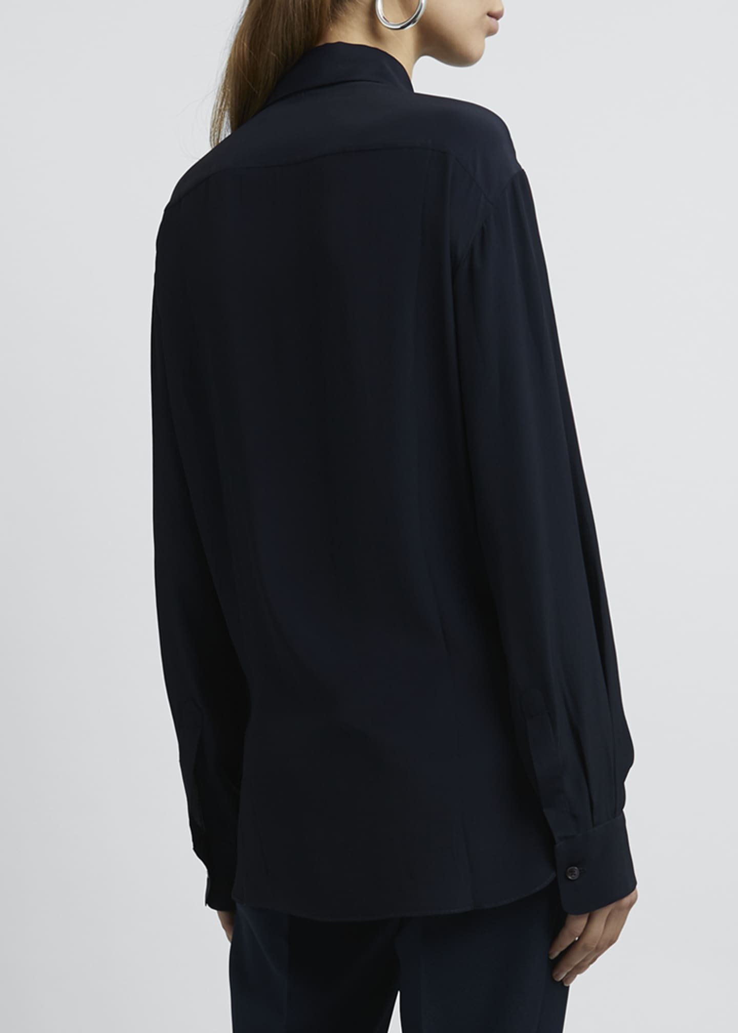 Image 2 of 4: Collared Tie-Front Long-Sleeve Blouse