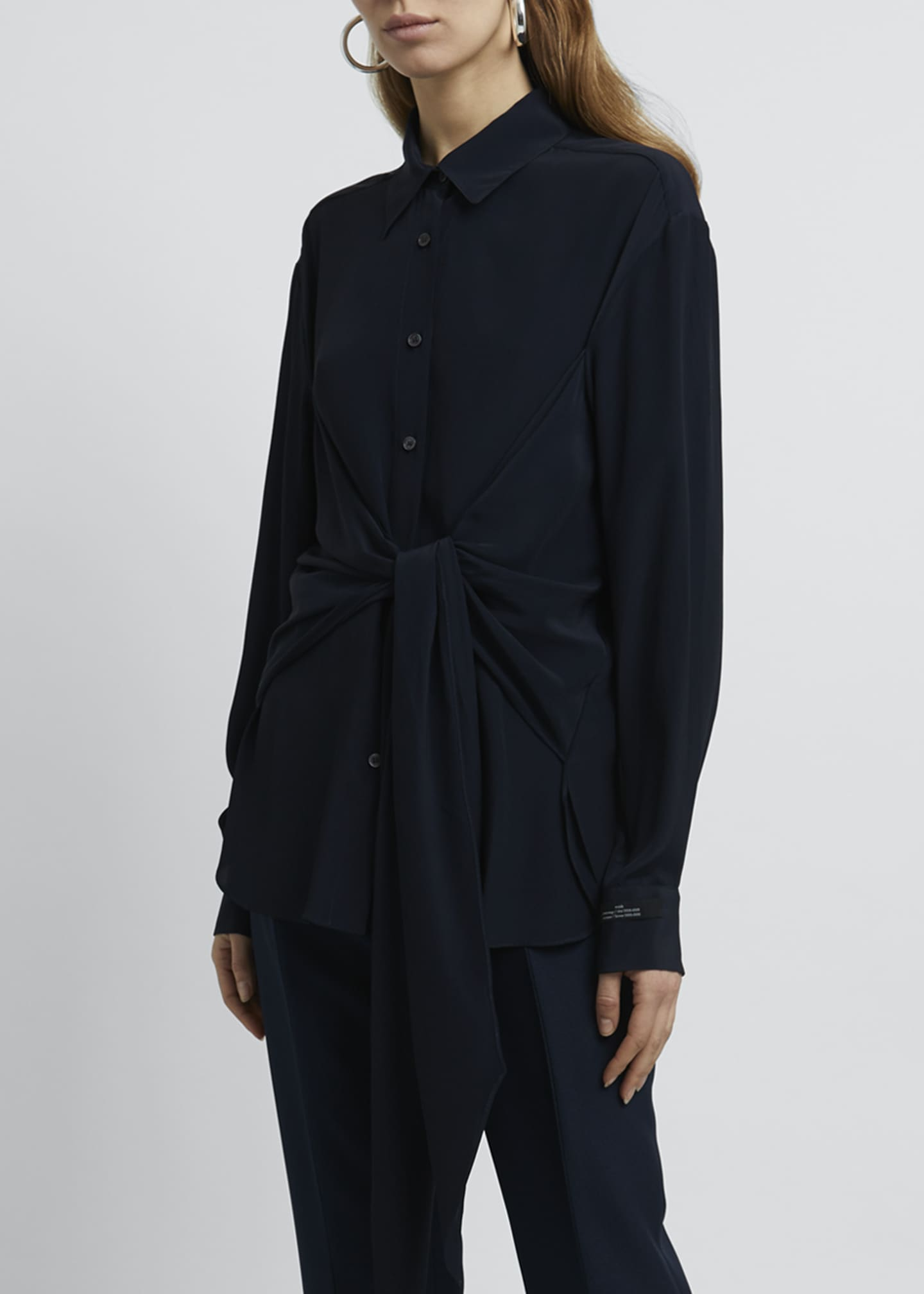 Image 3 of 4: Collared Tie-Front Long-Sleeve Blouse