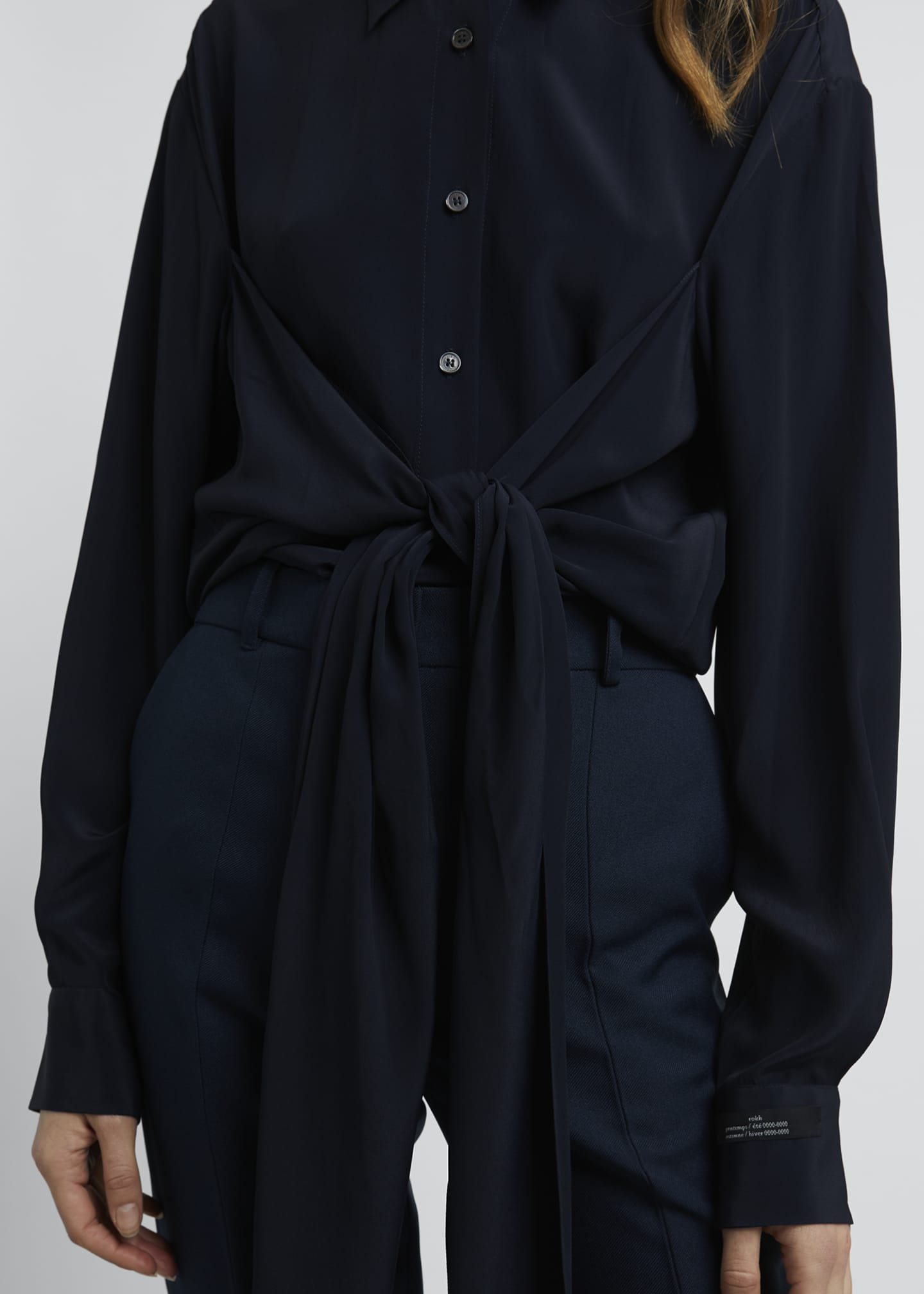 Image 4 of 4: Collared Tie-Front Long-Sleeve Blouse