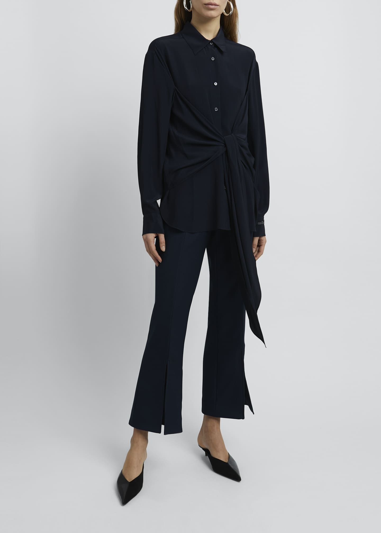 Image 1 of 4: Collared Tie-Front Long-Sleeve Blouse