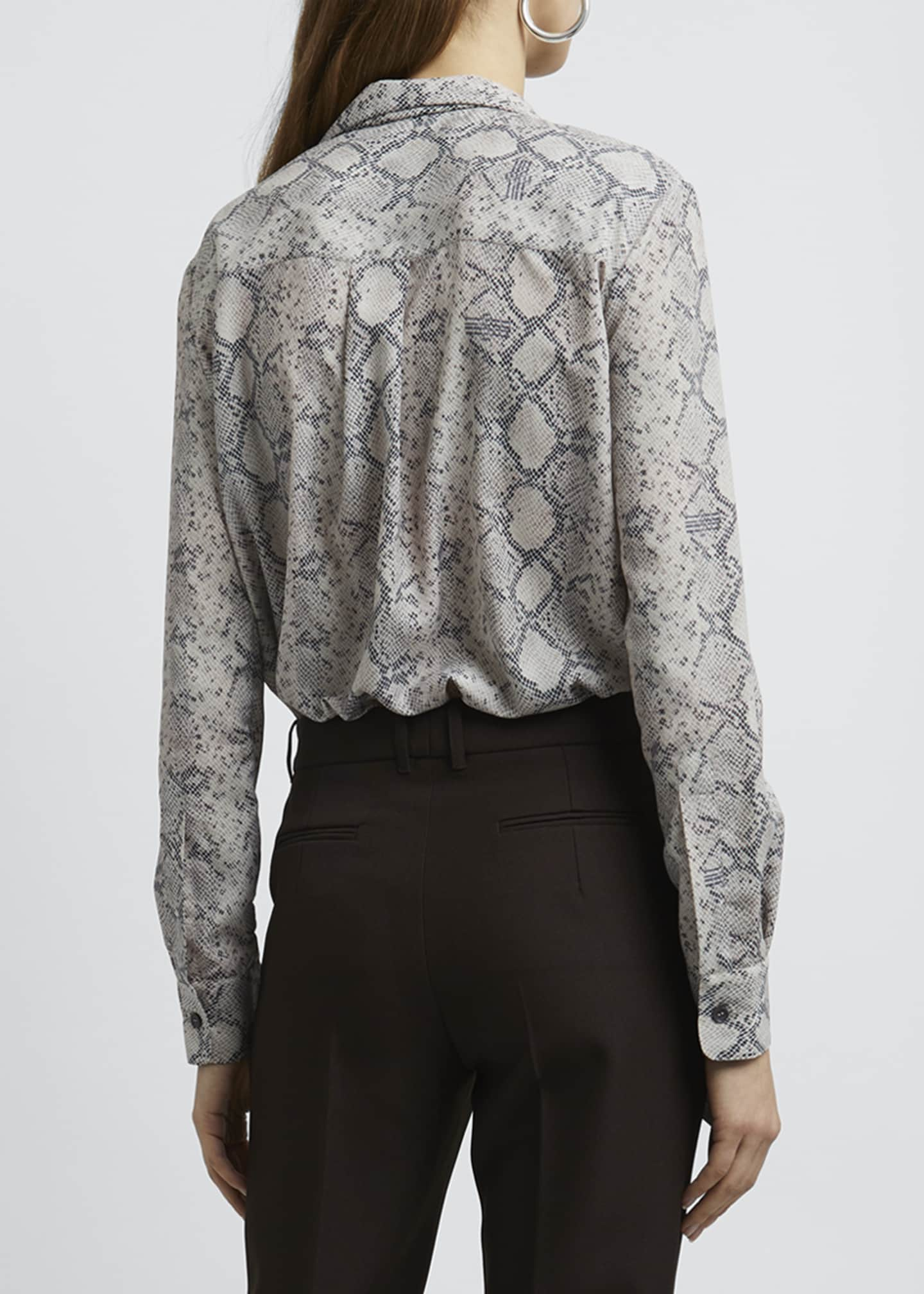 Image 2 of 4: Snake Print Tie-Neck Long-Sleeve Blouse