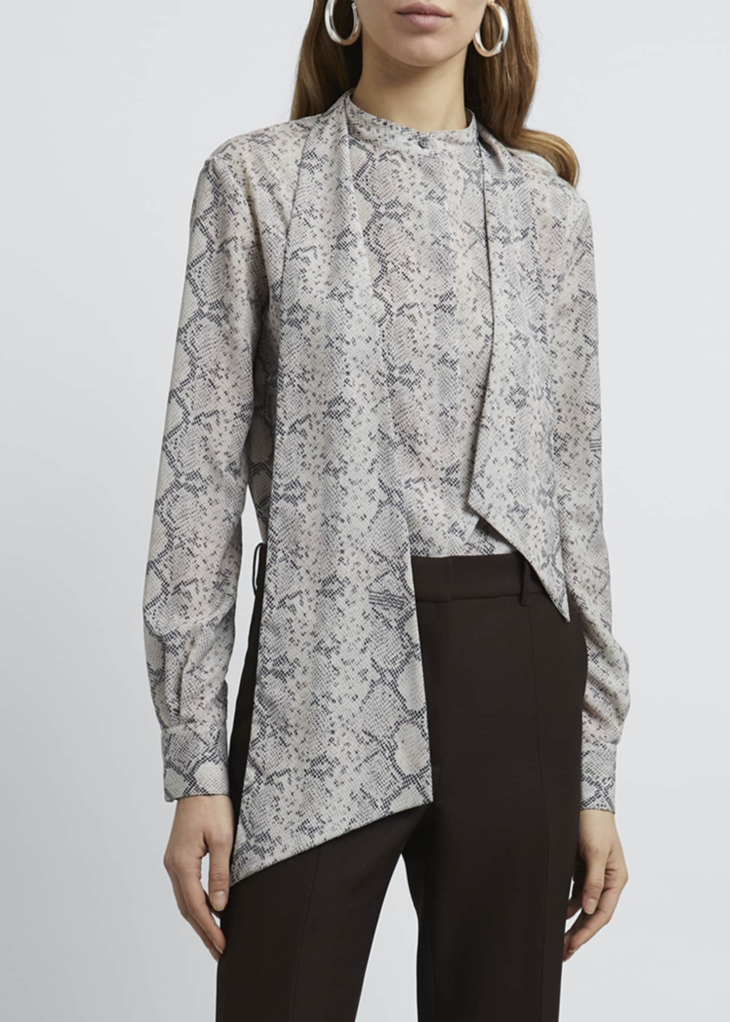Image 3 of 4: Snake Print Tie-Neck Long-Sleeve Blouse