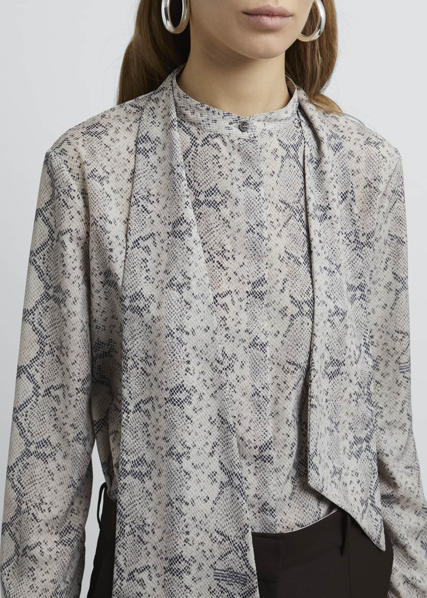Image 4 of 4: Snake Print Tie-Neck Long-Sleeve Blouse