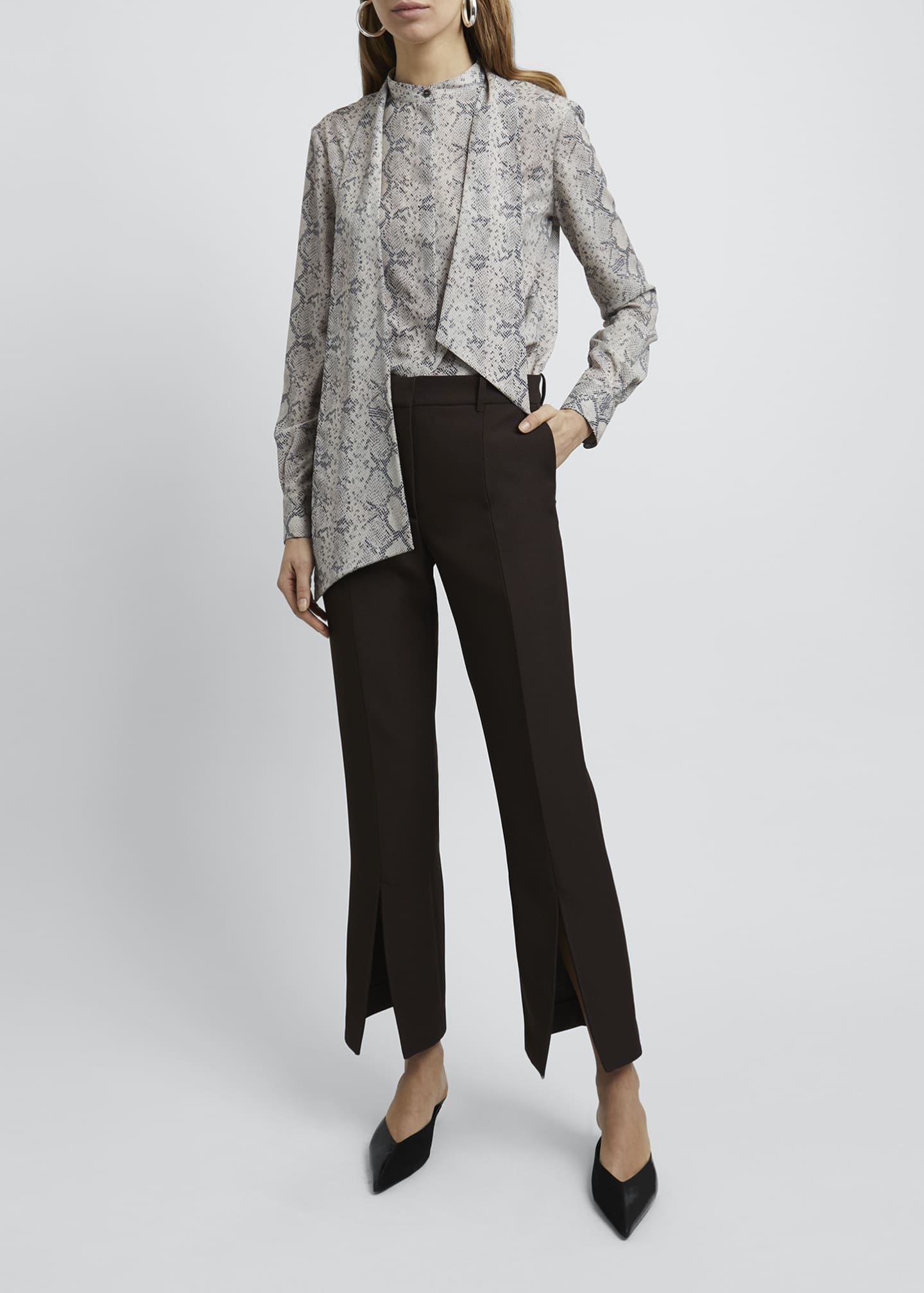 Image 1 of 4: Snake Print Tie-Neck Long-Sleeve Blouse