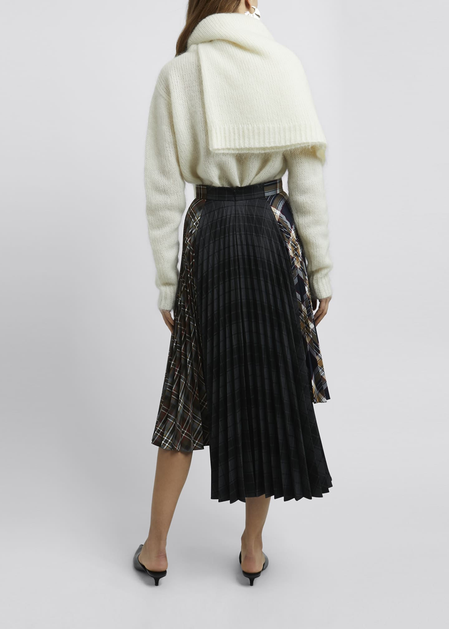 Image 2 of 4: Multi Check Asymmetric Pleated Midi Skirt