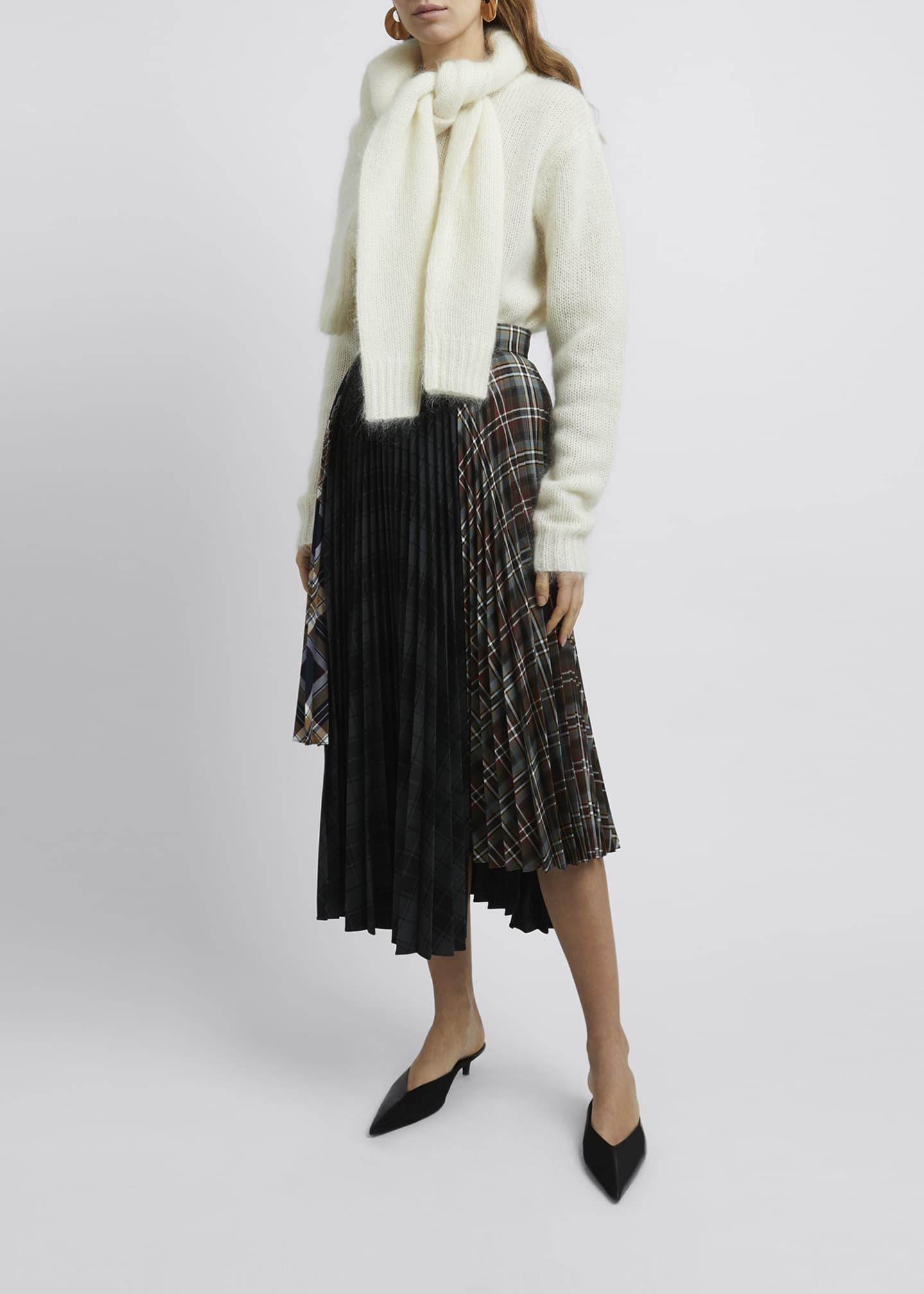 Image 3 of 4: Multi Check Asymmetric Pleated Midi Skirt